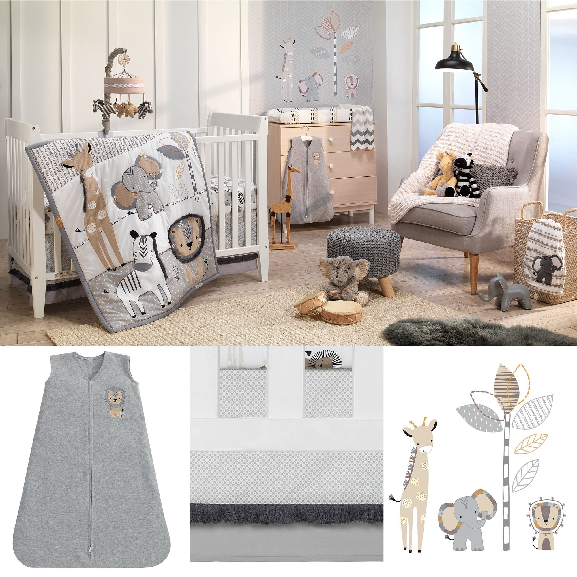 Baby Boy Bedroom theme Awesome Jungle Safari Gray Tan White Nursery 6 Piece Baby Crib