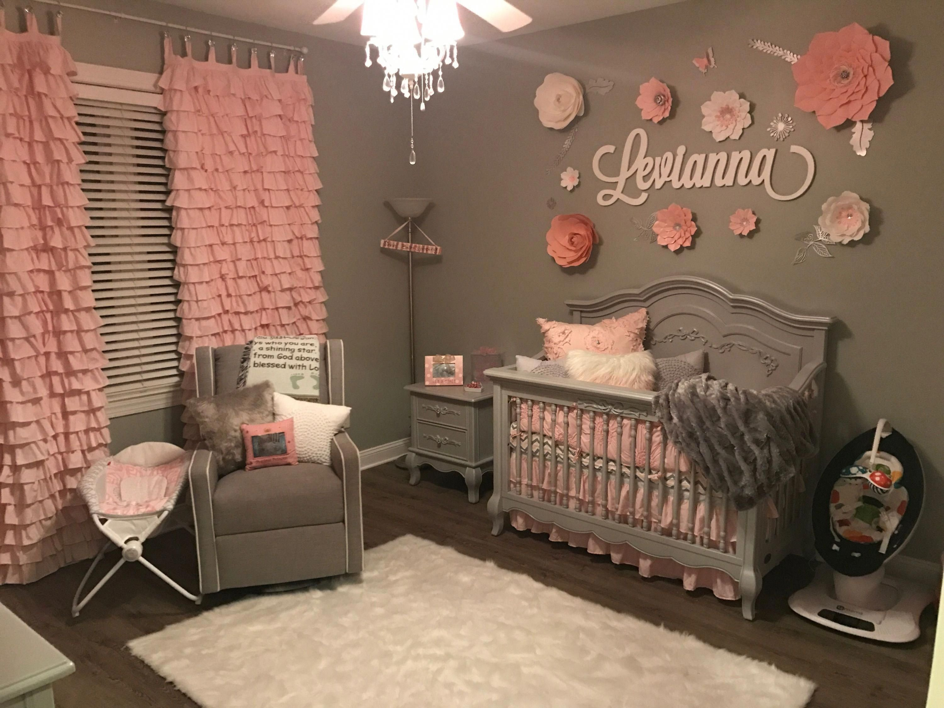 Baby Girl Bedroom Decor Best Of Baby Girl Grey and Pink Bedroom Handmade Drapes and Flowers