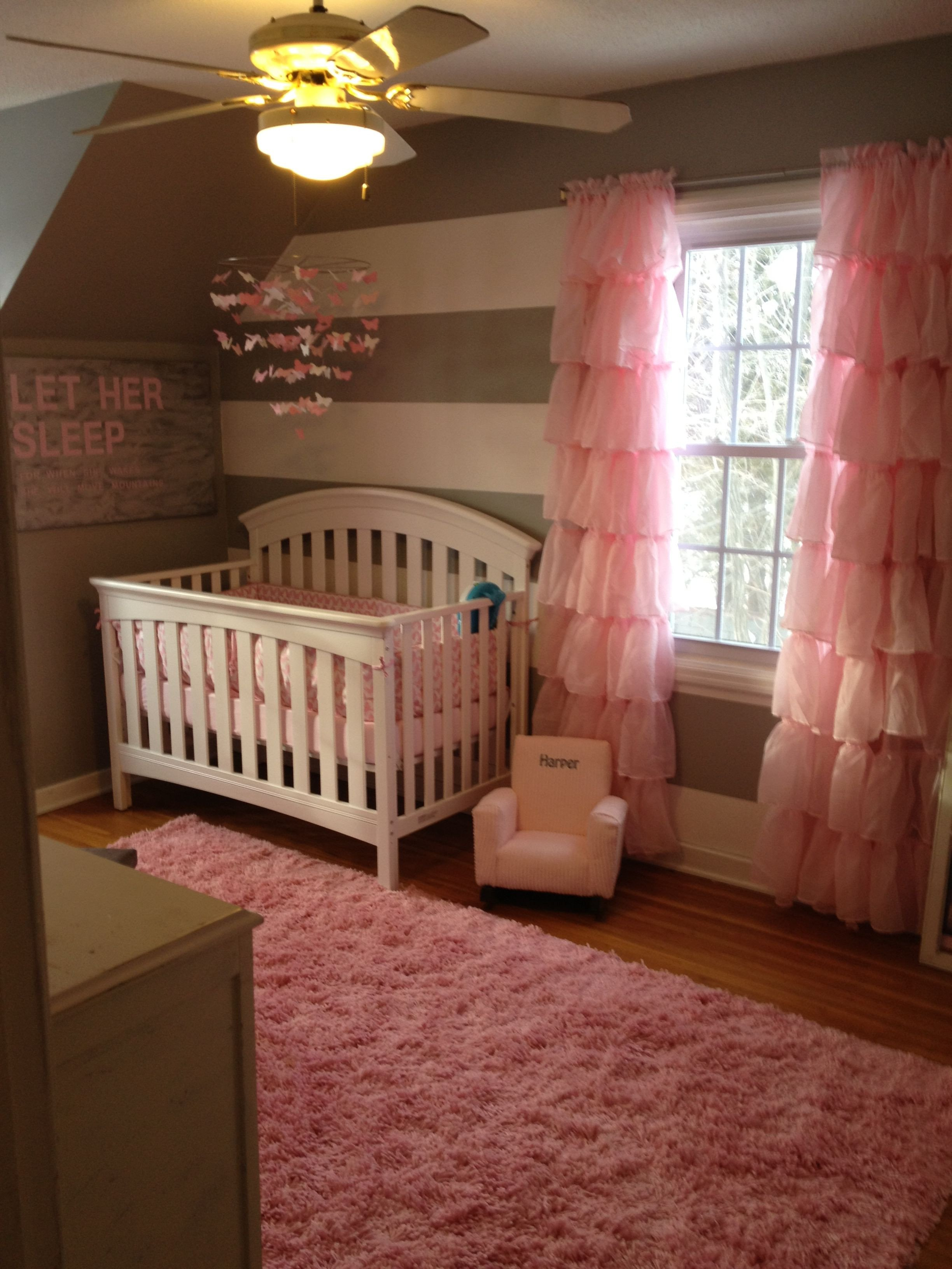 Baby Girls Bedroom Set Beautiful Pink White and Gray Nursery Gray Walls White Furniture