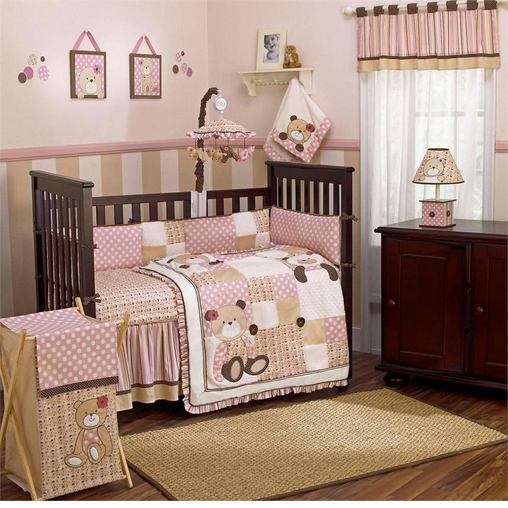 Baby Girls Bedroom Set Lovely Baby Girl Pink Crib Bedding with Teddy Bears