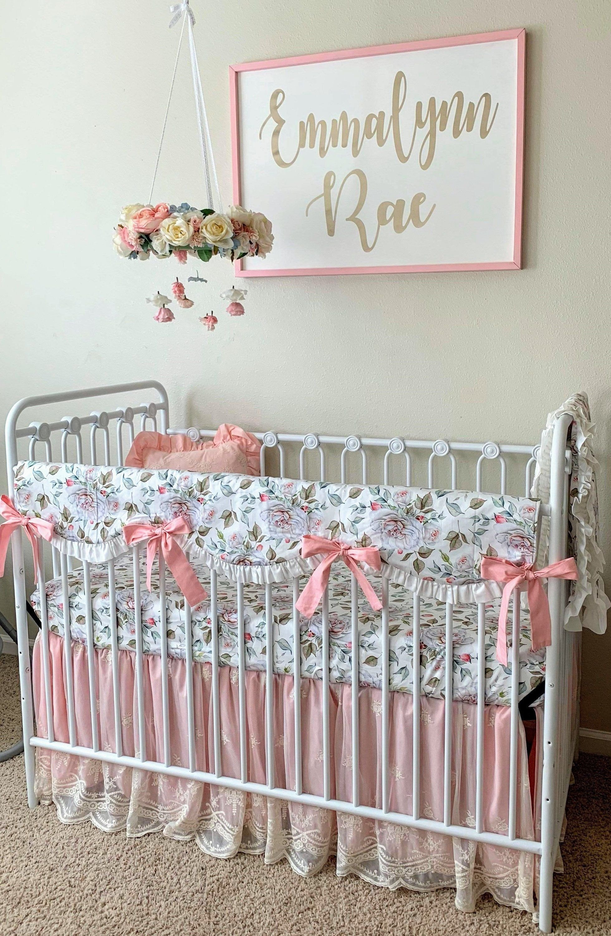 Baby Girls Bedroom Set New Floral Crib Rail Cover Blush Pink and White Farmhouse