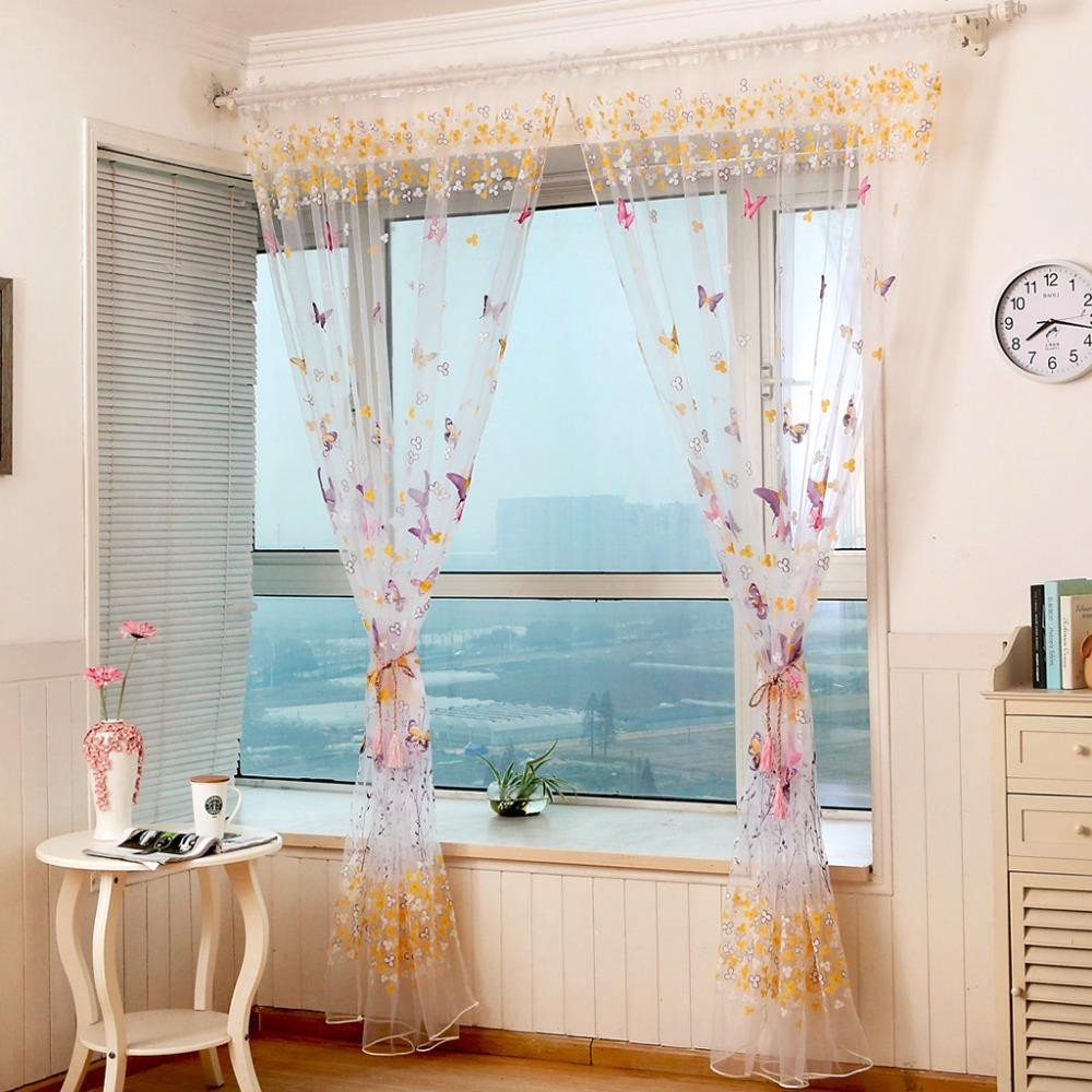 Balloon Curtains for Bedroom Inspirational 2019 Window Curtain butterfly Printed Tulle Voile Fabric Transparent Sheer for Home Living Room Screening From Bowstring $41 31