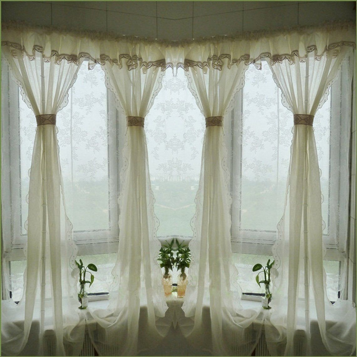 Balloon Curtains for Bedroom Luxury Pair Of Shabby Chic Fixed Valance with Hem Lace Creamy