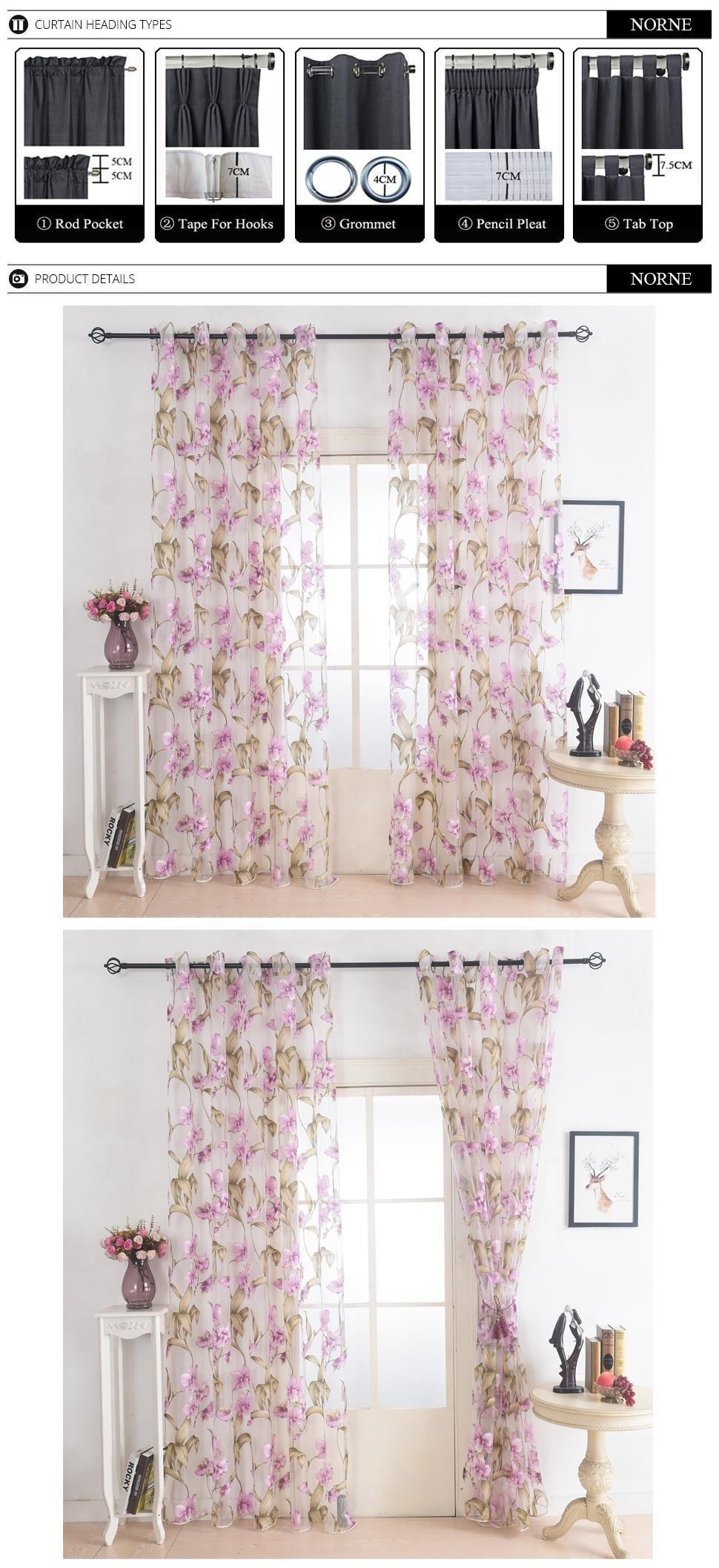 Balloon Curtains for Bedroom New norne Window Punching Grommet Sheer Curtains Voiles Panel for Living Room the Bedroom Kitchen Modern Tulle Curtain Floral Pattern Fabric Balloon