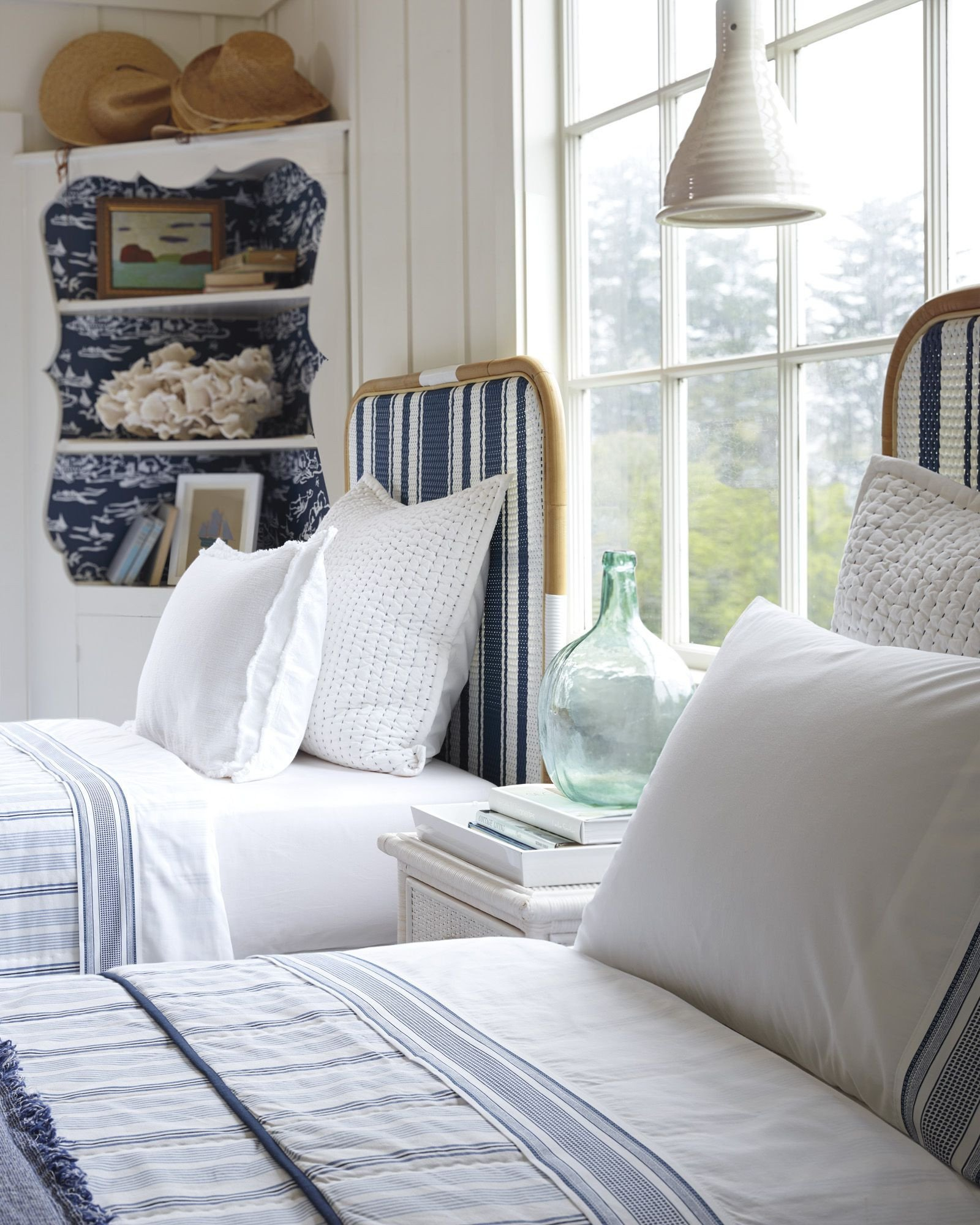 Beach Style Bedroom Furniture Beautiful Twin Bed Decked Out In Navy & White