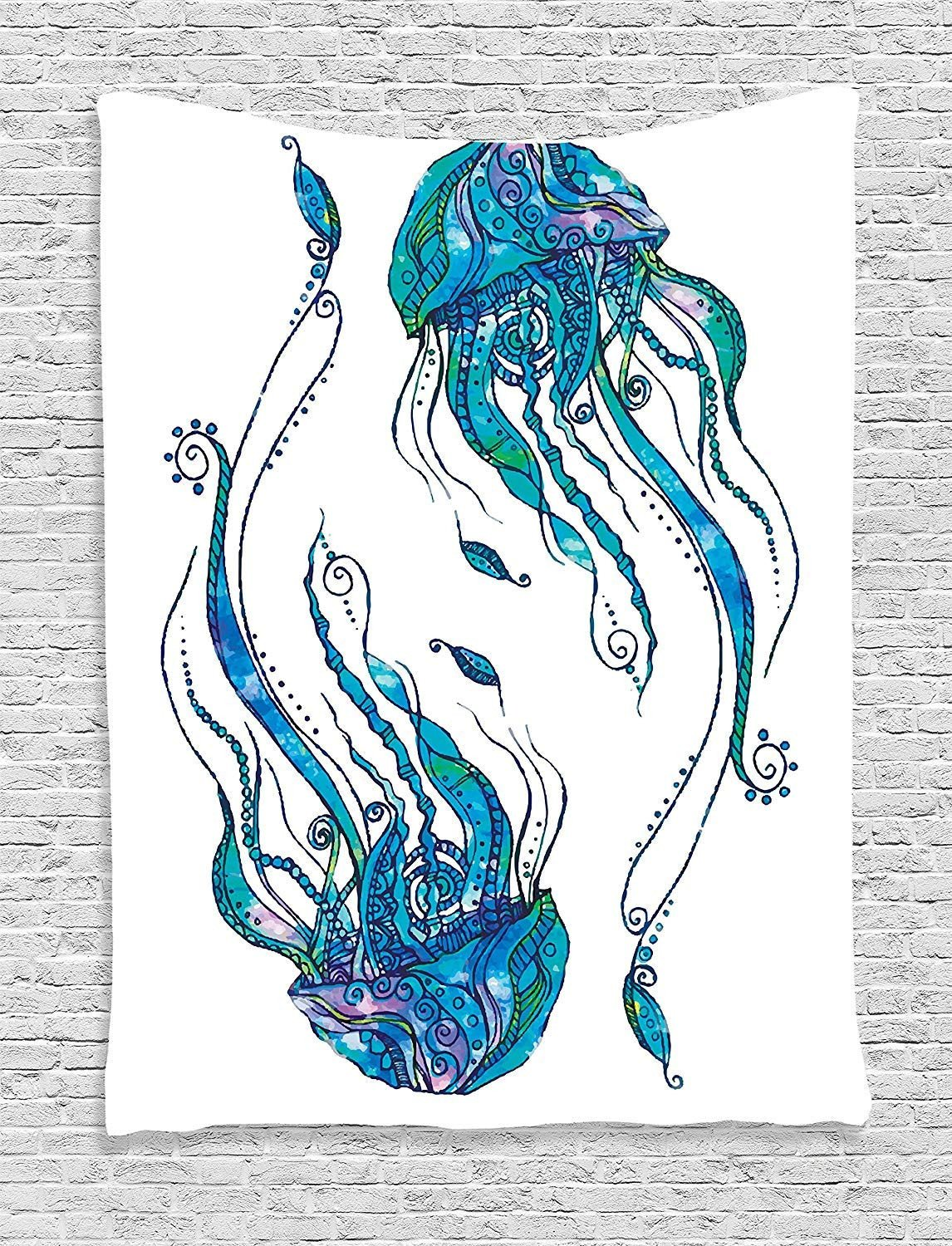 Beach theme Bedroom Decor Awesome Ambesonne Jellyfish Decor Collection Jellyfish Shaped with ornamental Patterns Boho Style Beach themed Aqua Art Bedroom Living Room Dorm Wall