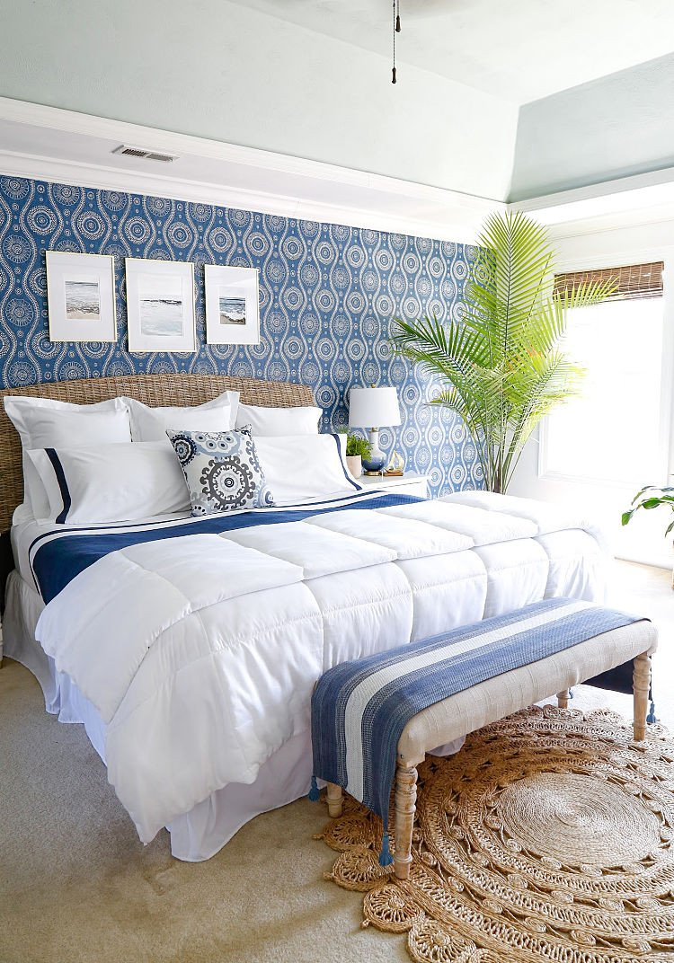 Beach themed Bedroom Accessories Fresh Coastal Blues Master Bedroom Makeover Sand and Sisal