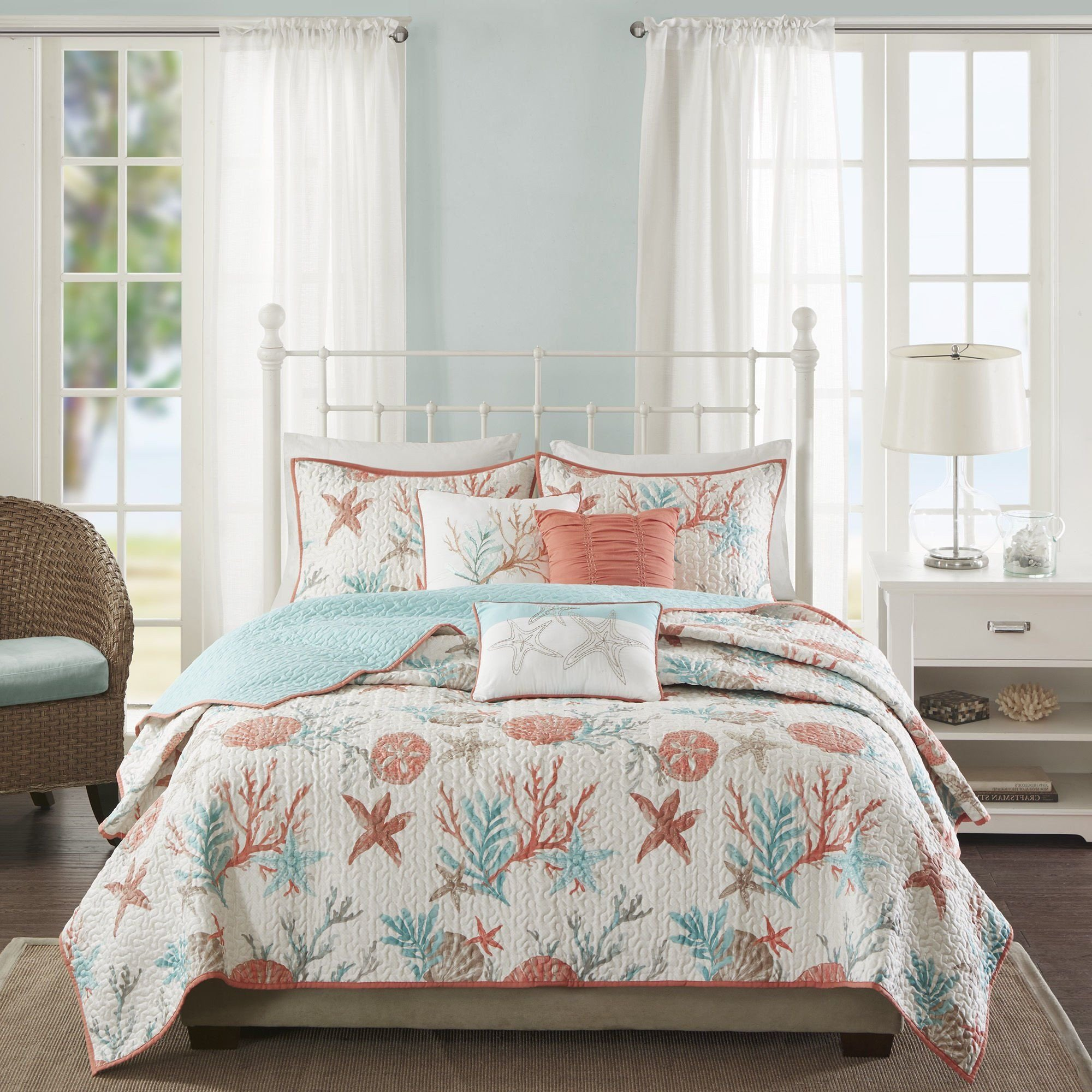 Beach themed Bedroom Furniture Luxury 6 Piece Vibrant orange Pink Blue White Full Queen Quilt Set