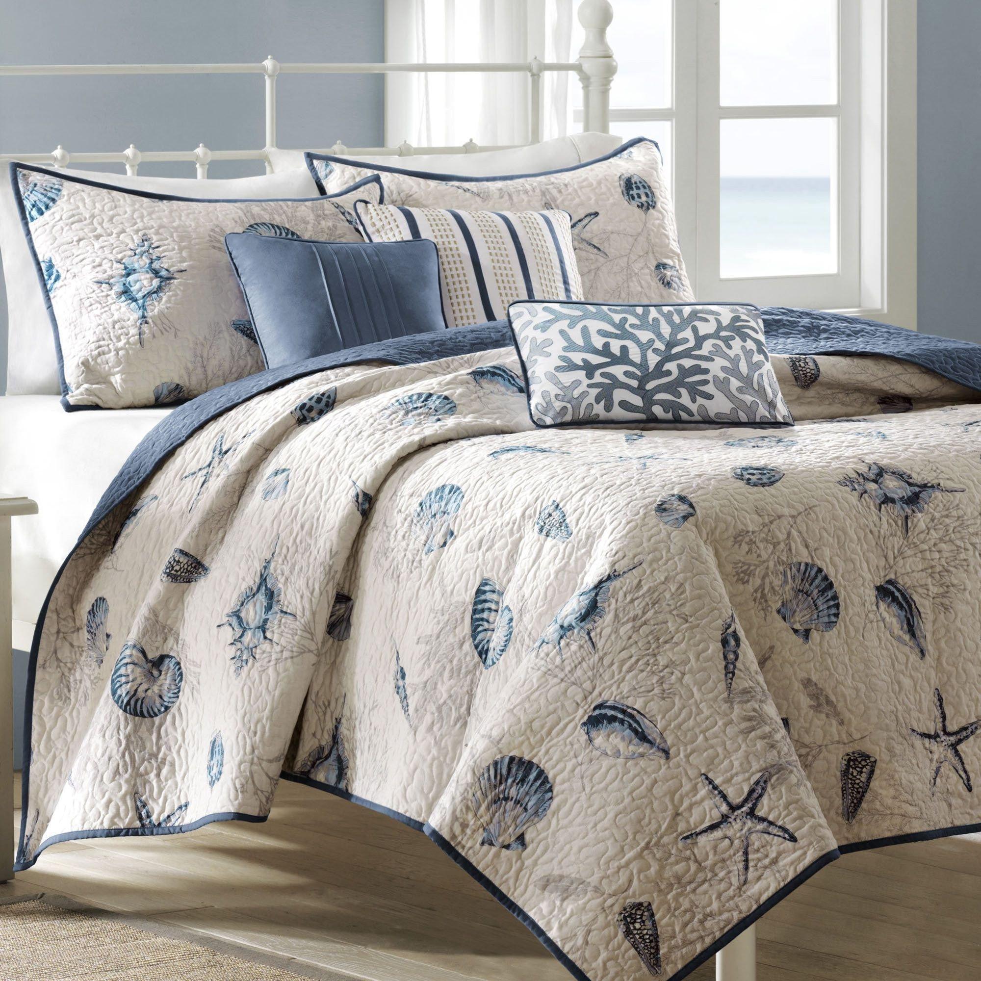 Beach themed Bedroom Set Inspirational Nantucket Coastal Seashell 6 Pc Coverlet Bed Set