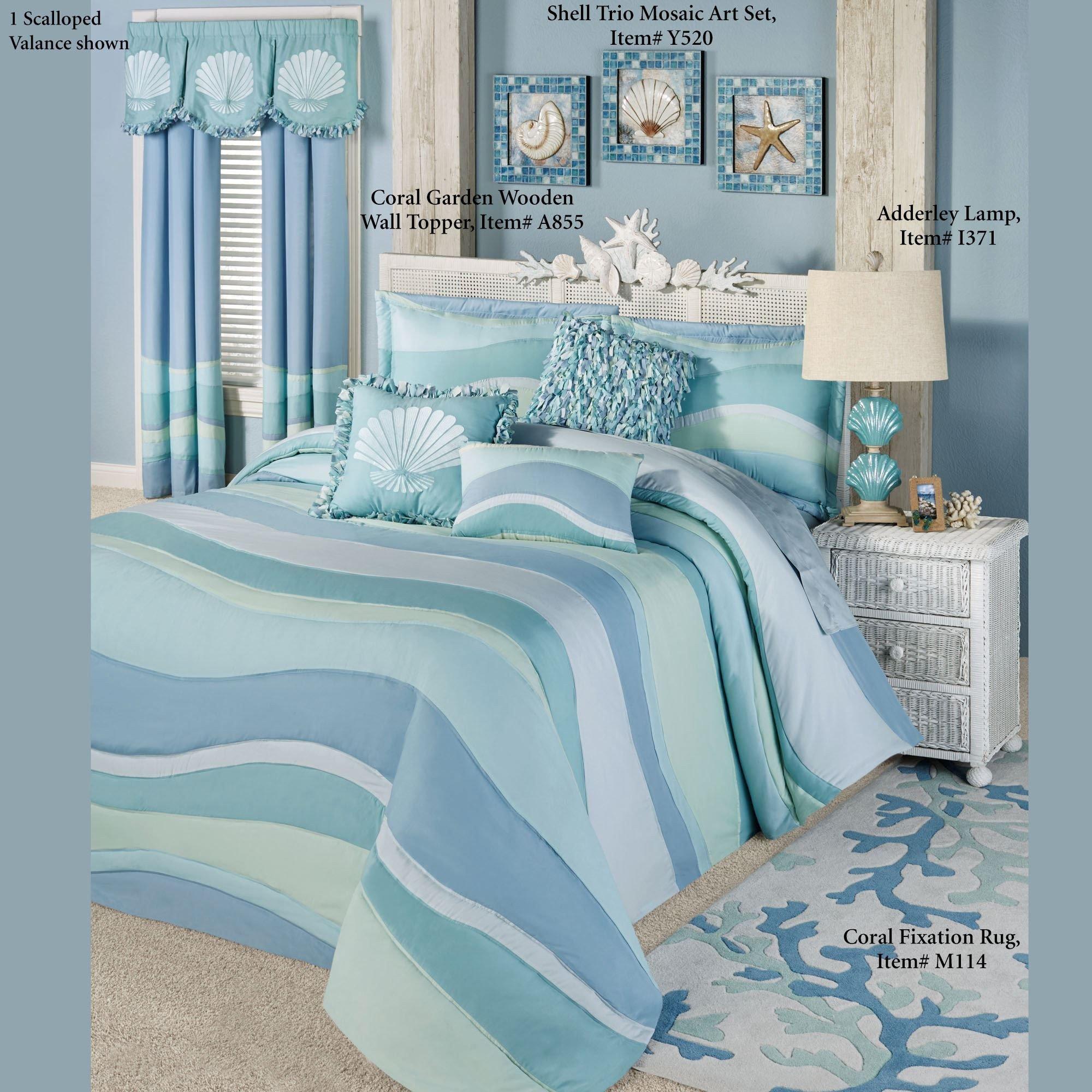 Beach themed Bedroom Set Unique Ocean Tides Ii Lightweight Oversized Coastal Bedspread