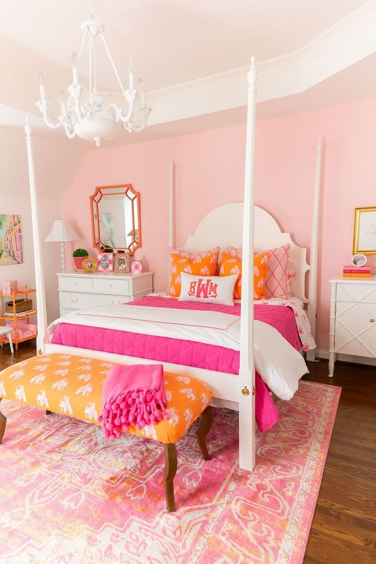 Beach themed Girls Bedroom New Pink and orange Big Girl Room Reveal with Details for