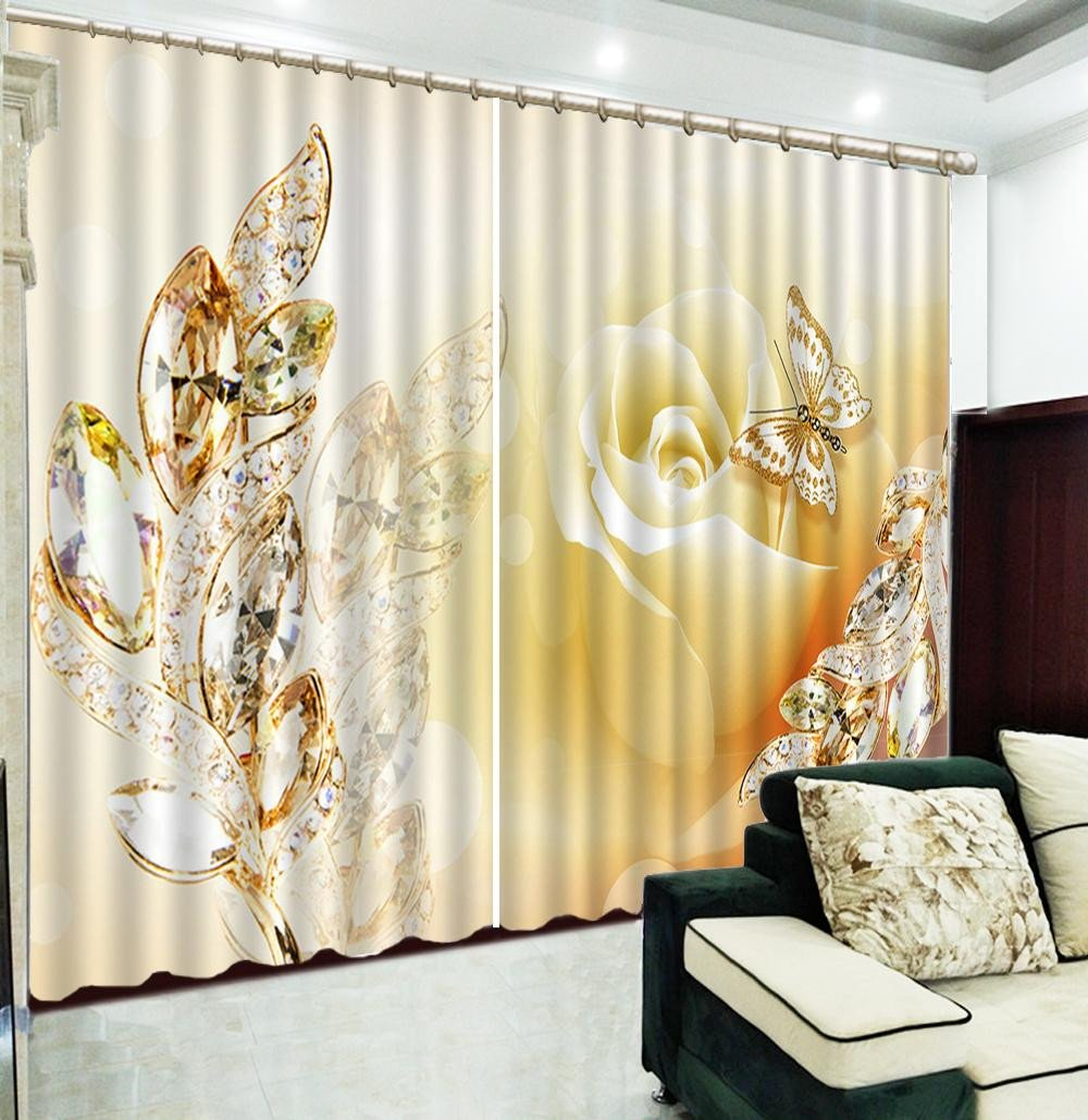 Beautiful Curtains for Bedroom Luxury 2019 3d Curtain Luxury Jewelry Dream Rose Gold Color butterfly Customized Curtains Practical Beautiful Blackout Curtains From Yunlin188 $194 98