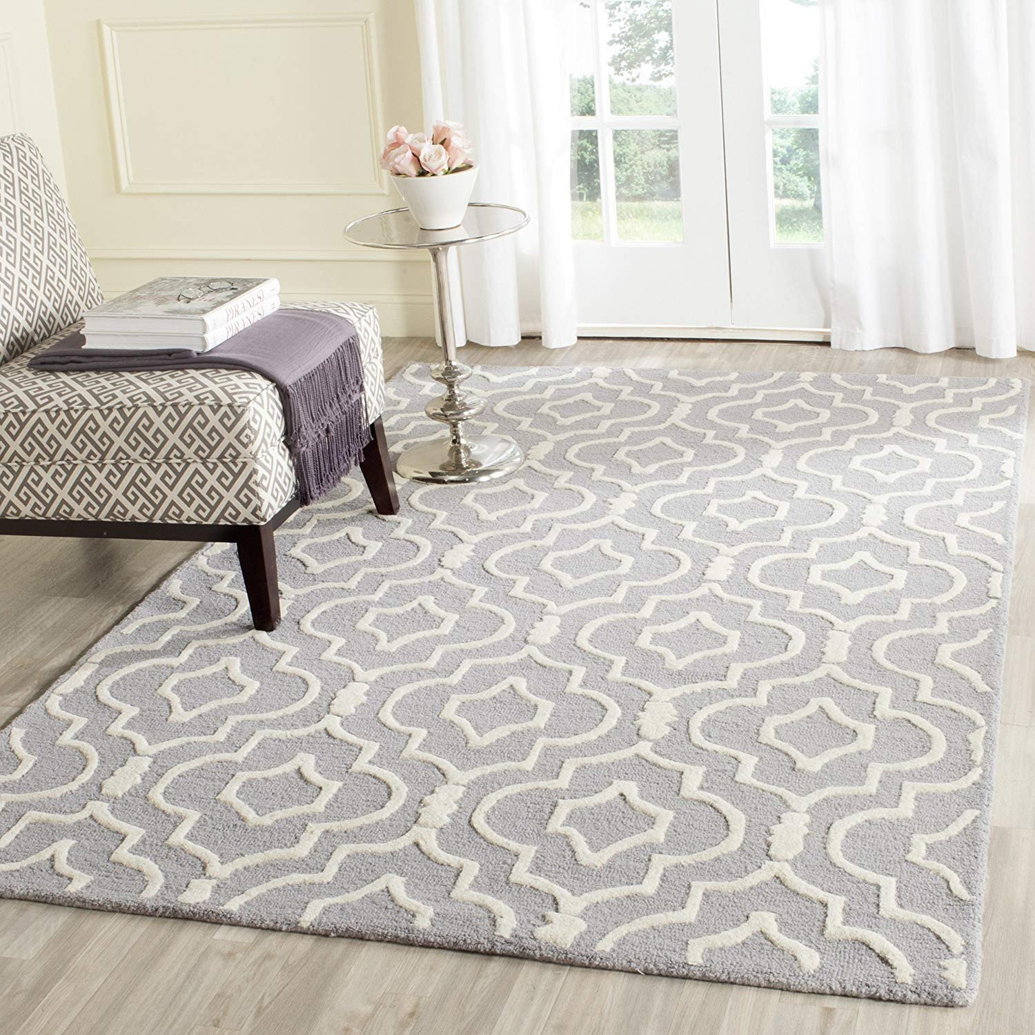 Bedroom area Rug Placement Awesome Safavieh Cambridge Collection Cam141d Handcrafted Moroccan Geometric Silver and Ivory Premium Wool area Rug 9 X 12