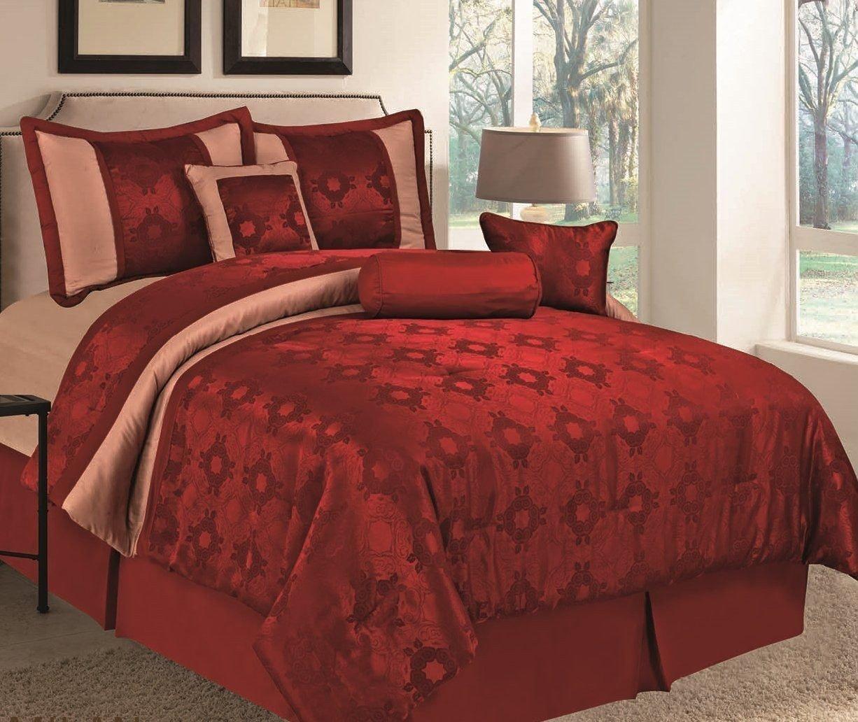 Bedroom Bedding and Curtain Set Beautiful 11 Piece Milan Burgundy Medallion Jacquard forter Set