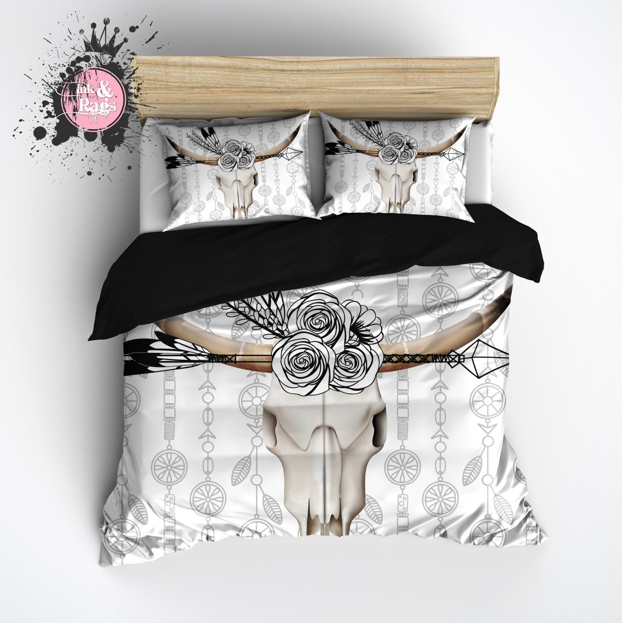 Bedroom Bedding and Curtain Set Beautiful Boho Bull Skull Flower and Feather Bedding