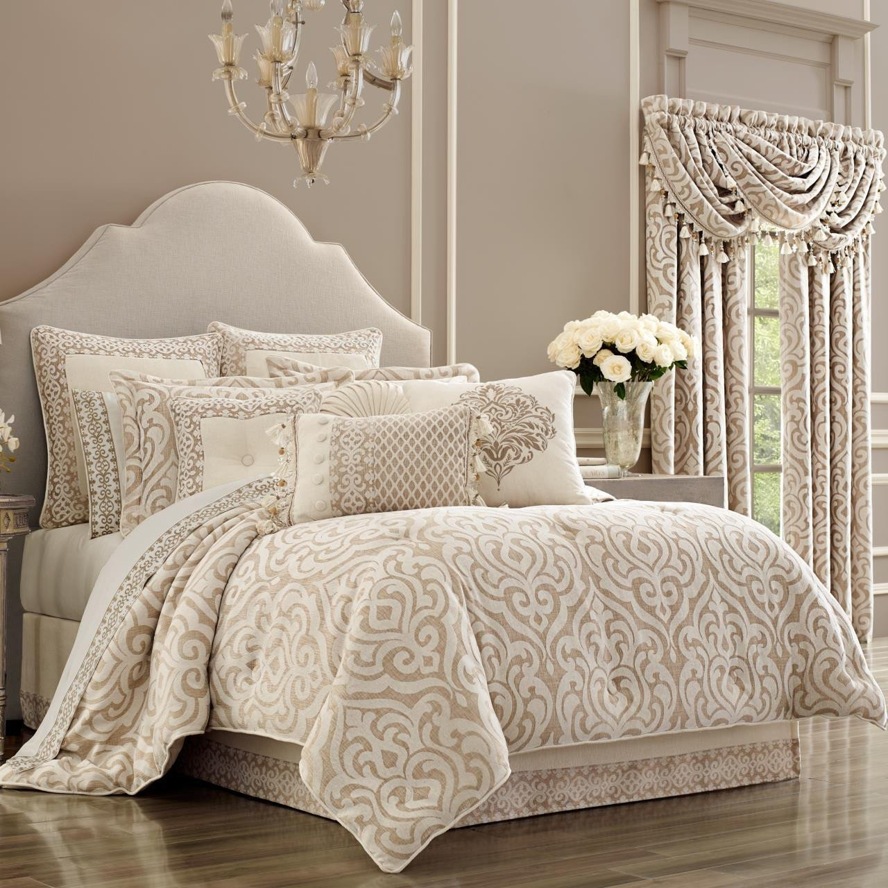 Bedroom Bedding and Curtain Set Beautiful Milano Sand forter Collection by J Queen New York