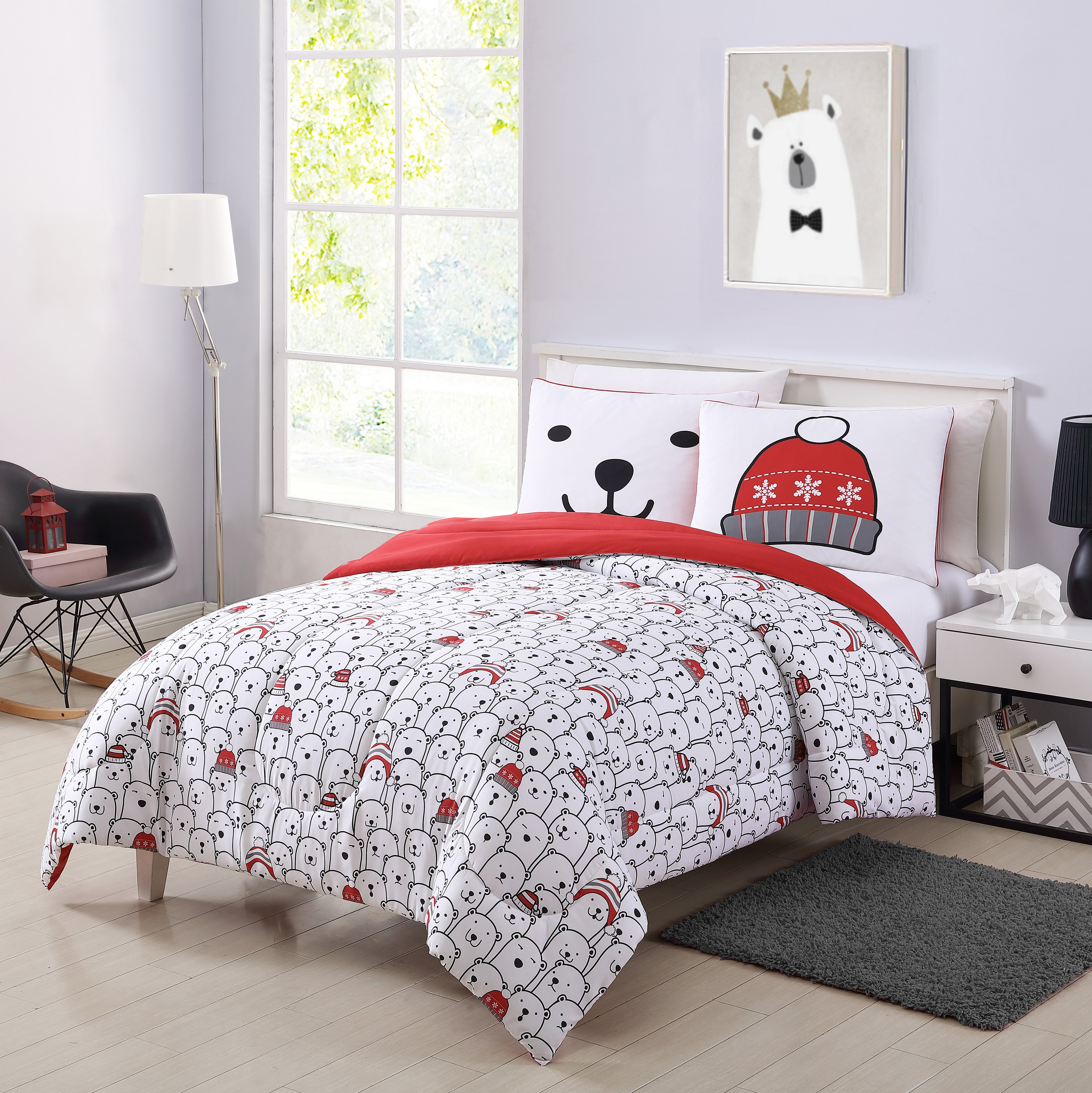 Bedroom Bedding and Curtain Set Beautiful Your Zone Winter Bear forter Set Walmart