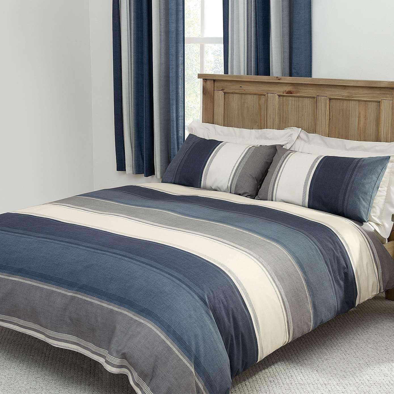 Bedroom Bedding and Curtain Set Elegant Blue Finley Duvet Cover Set Dunelm
