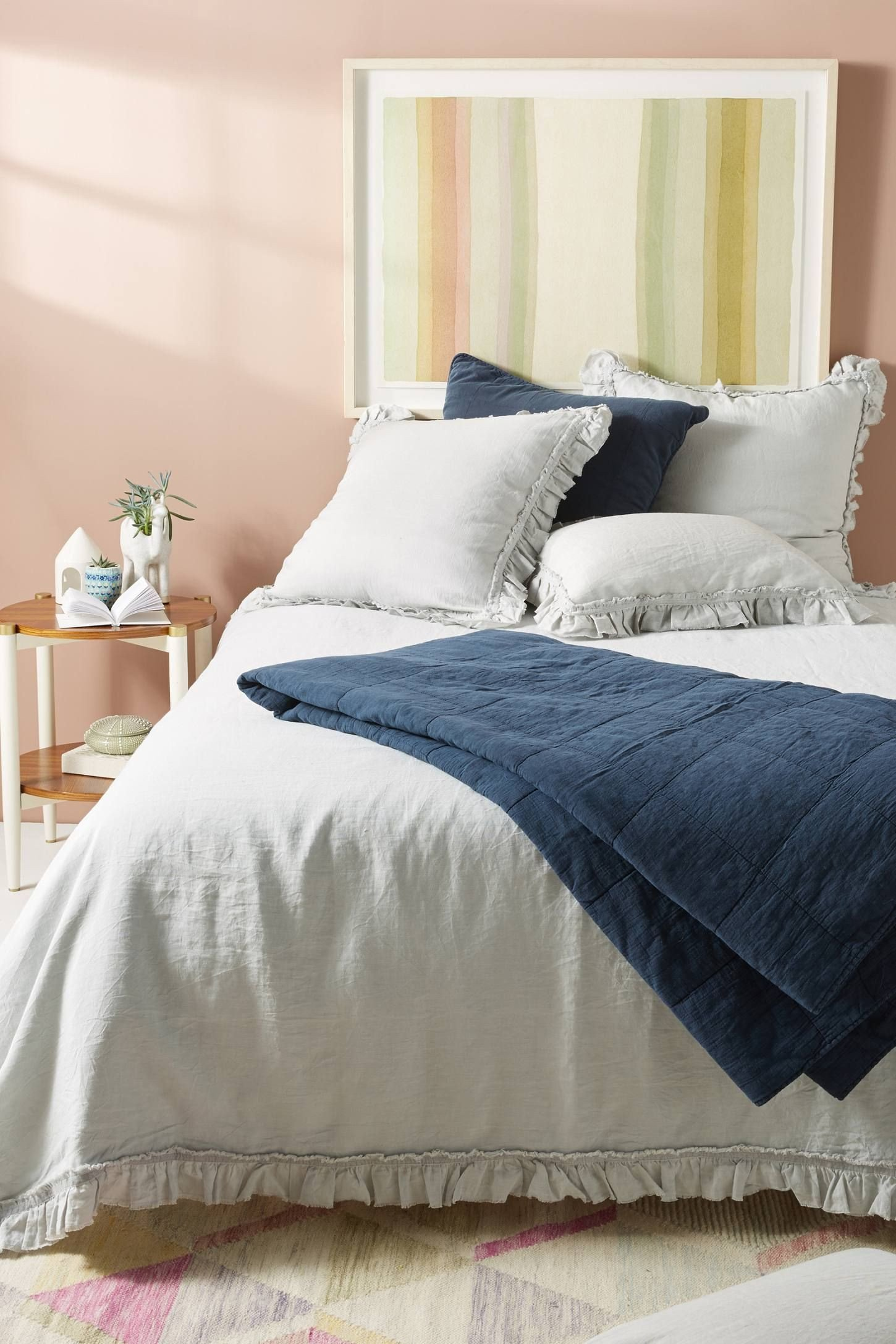 Bedroom Bedding and Curtain Set Fresh Pom at Home Mathilde Linen Duvet Cover by In Silver Bedding