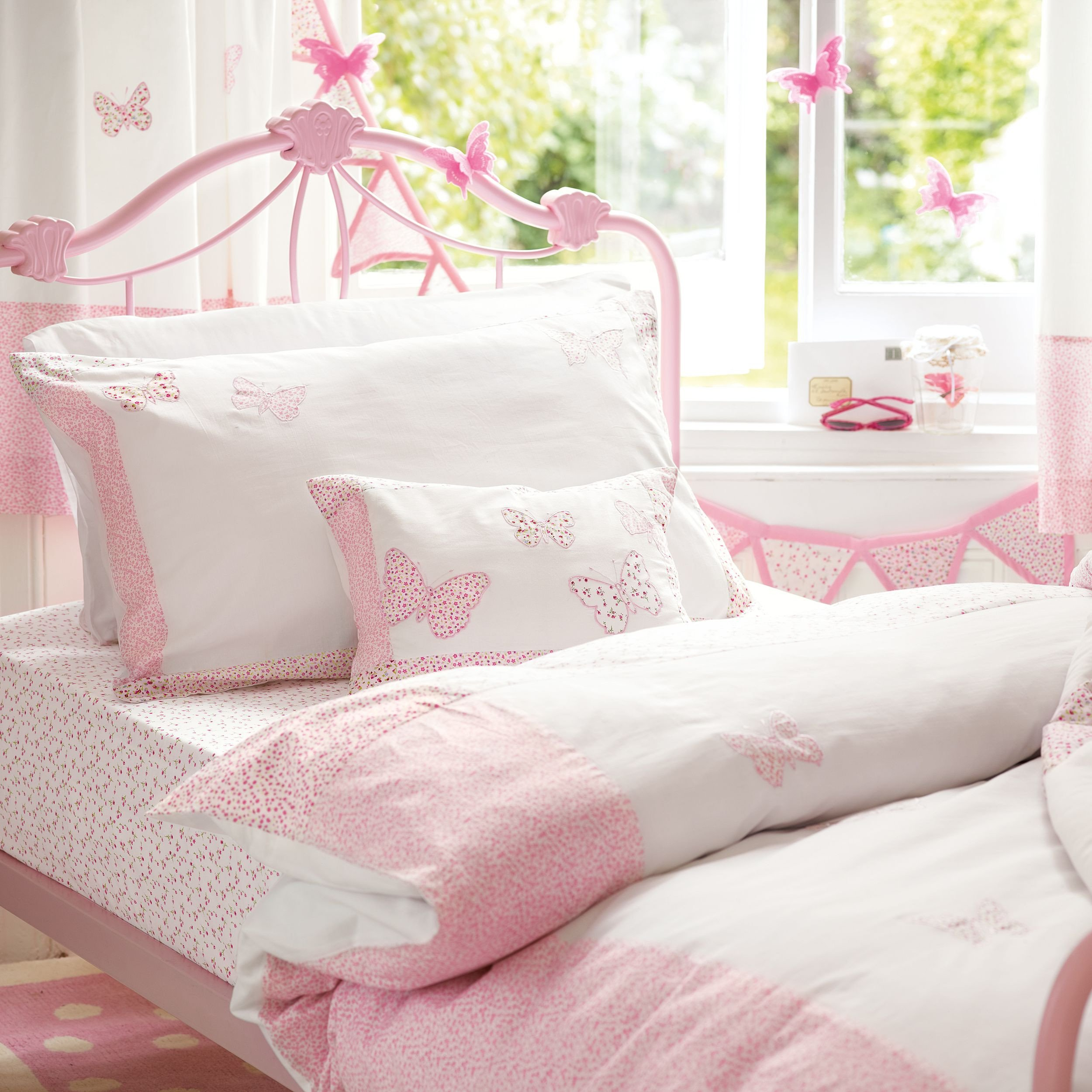 Bedroom Bedding and Curtain Set Luxury Bella butterfly Pink Cotton Duvet Set Laura ashley