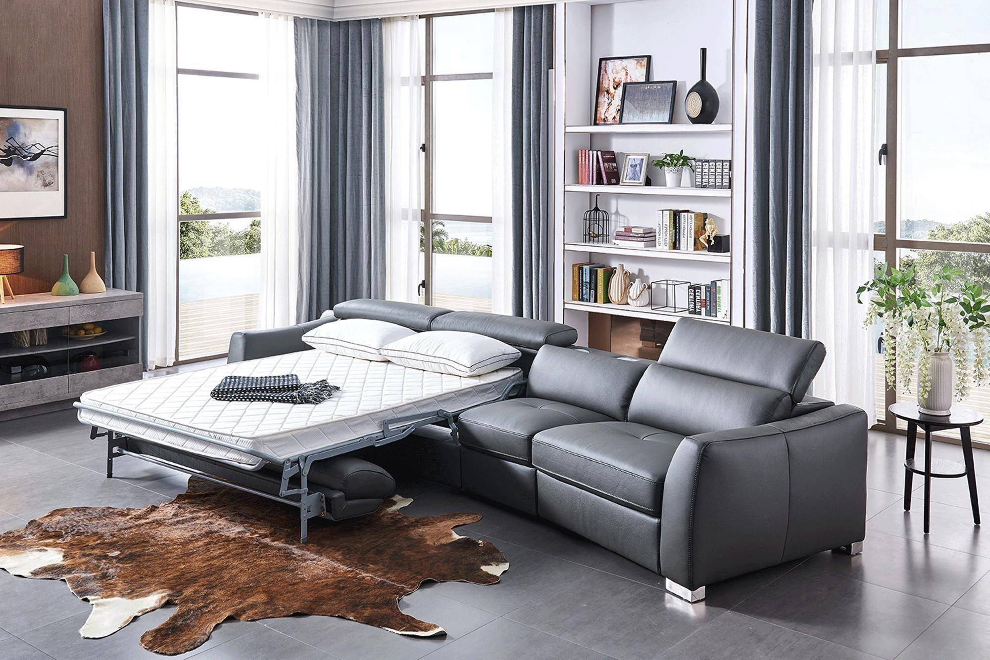 Bedroom Bench with Back Beautiful Esf 312 Dark Grey Sectional W Bed and Electric Recliner