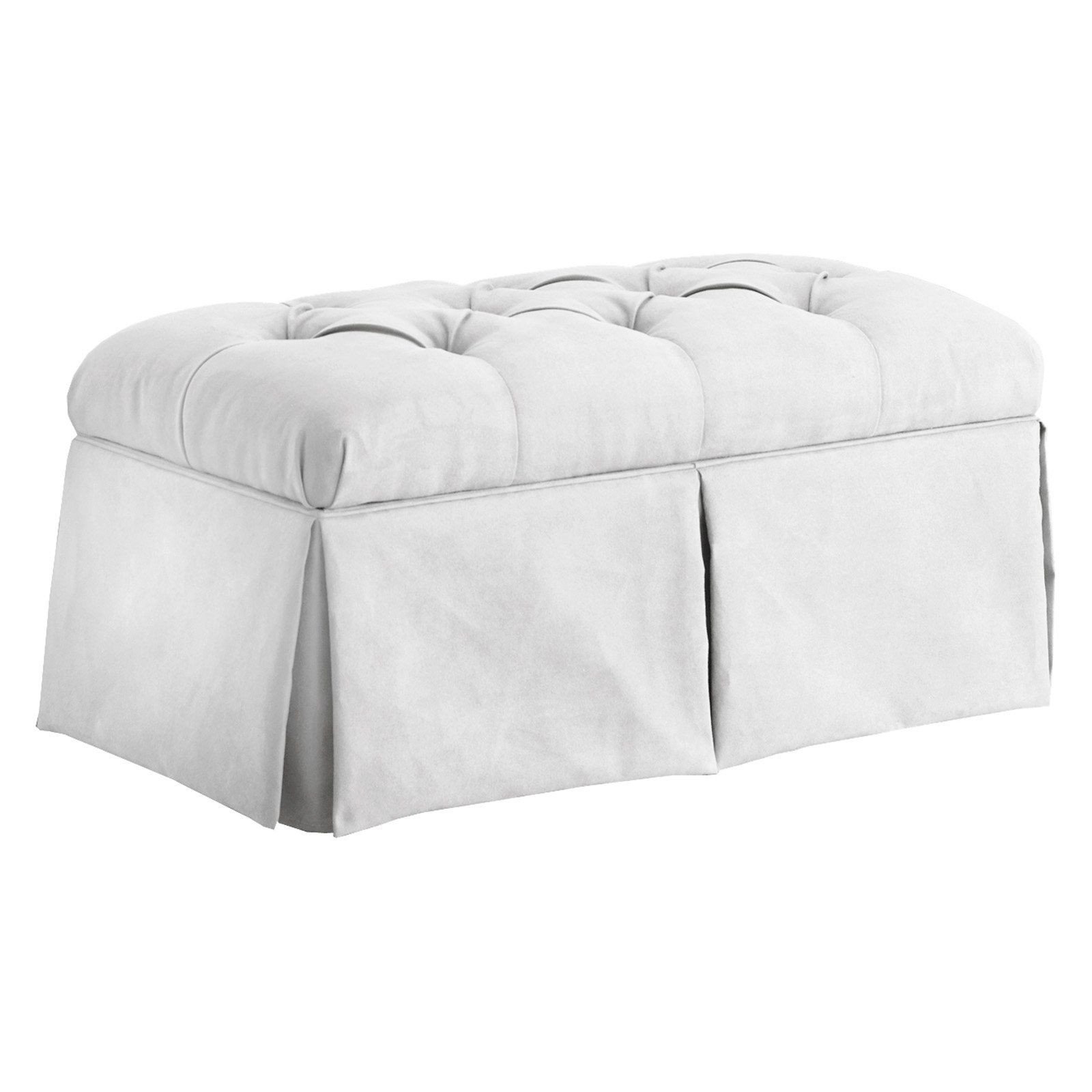 Bedroom Bench with Back Lovely Skyline Velvet Skirted Storage Bench White
