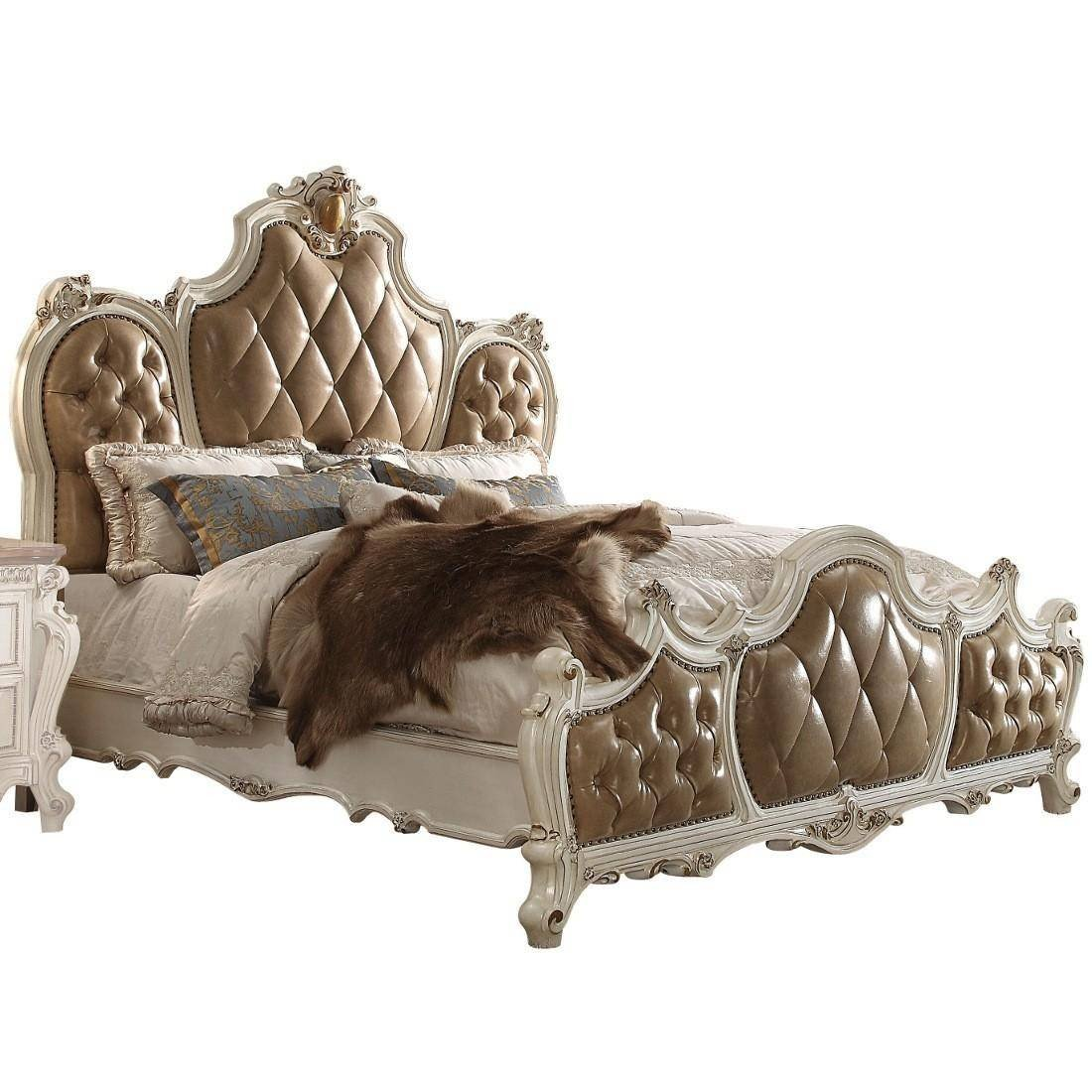 Bedroom Benches for Sale Fresh Antique Pearl & Brown Tufted Queen Bed Picardy Q Acme Classic Vintage