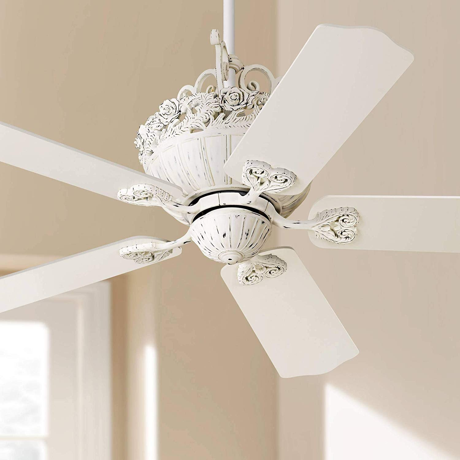 "Bedroom Ceiling Fans with Light New 52"" Casa Shabby Chic Ceiling Fan Antique Floral Scroll Rubbed White for Living Room Kitchen Bedroom Family Dining Casa Vieja"