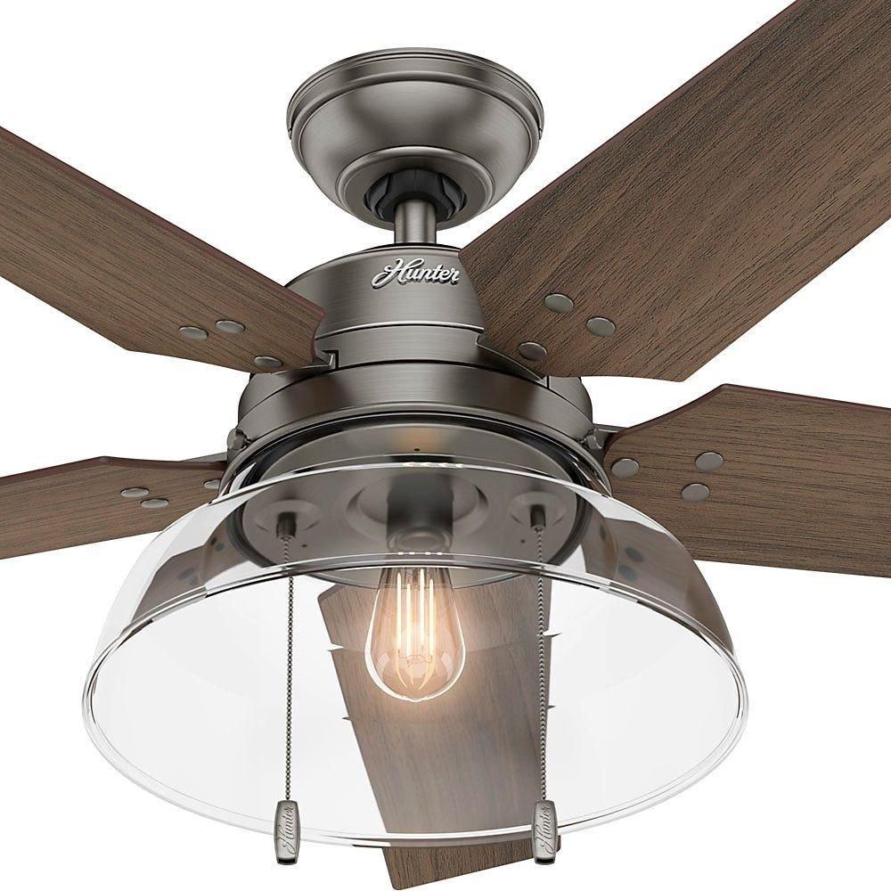 Bedroom Ceiling Fans with Light New Hunter Lindbeck 52 In Led Indoor Outdoor Brushed Slate