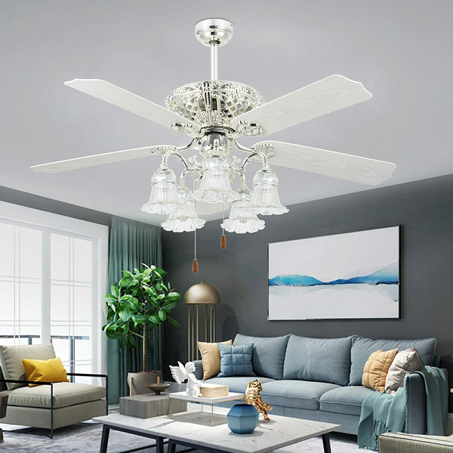 Bedroom Ceiling Fans with Light New White Ceiling Fan with Remote Control 5 Glass Light Cover Indoor Home Decoration Living Room Dinner Room Quiet Fans Chandelier 5 Plastic Reversible