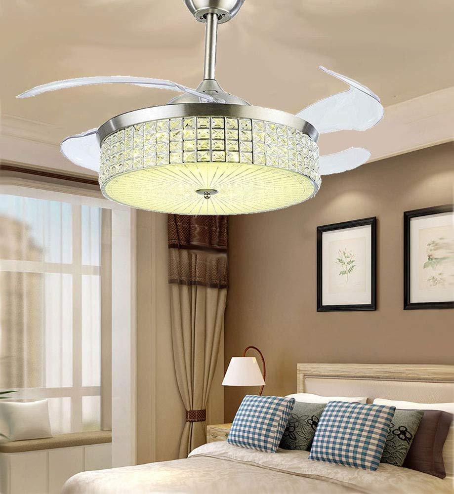 "Bedroom Ceiling Light Ideas Elegant 42"" Crystal Ceiling Fan Chandelier Indoor Retractable Blade"