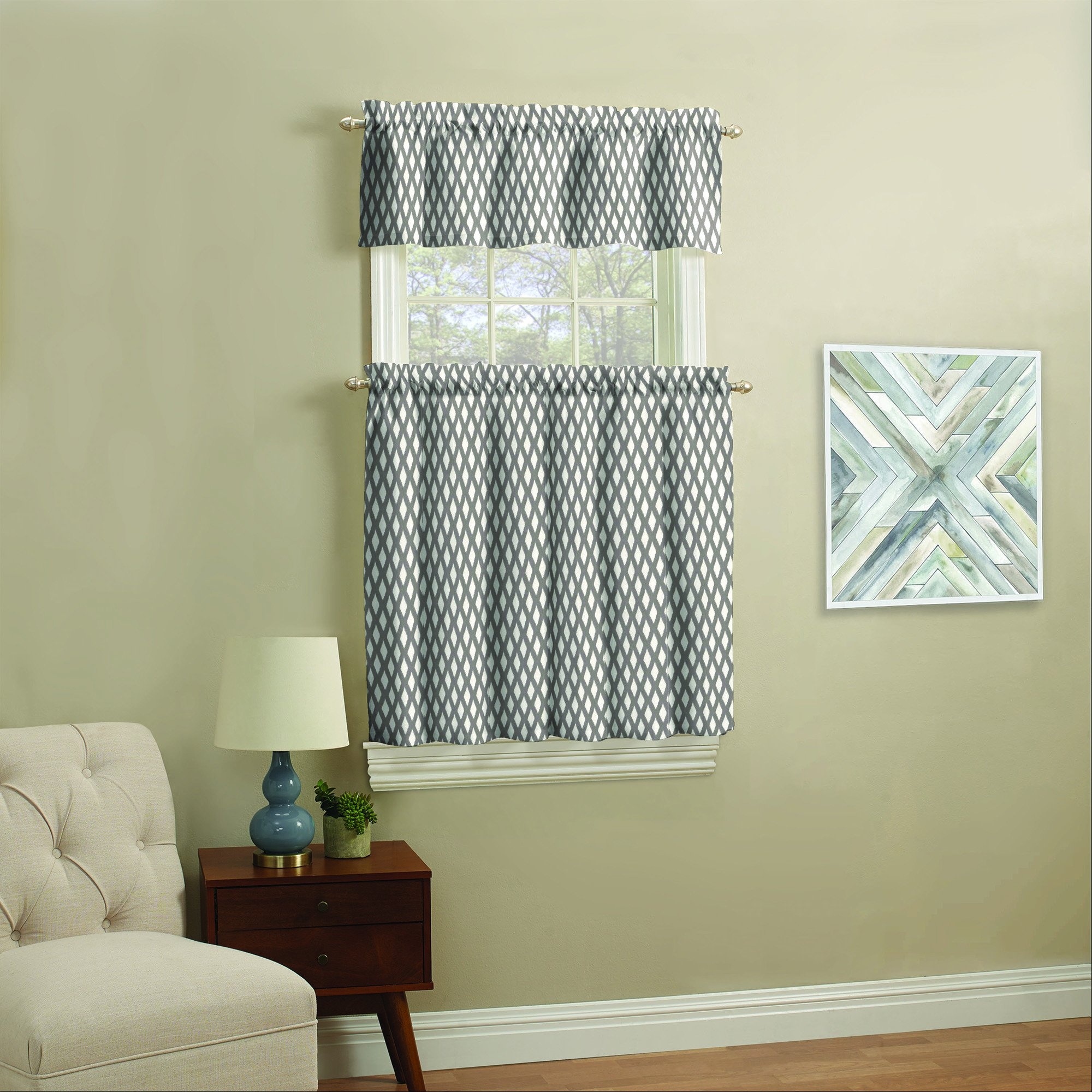 Bedroom Curtain Ideas Small Windows Luxury Mainstays Small Window Curtain Set Navy Ikat 3 Piece