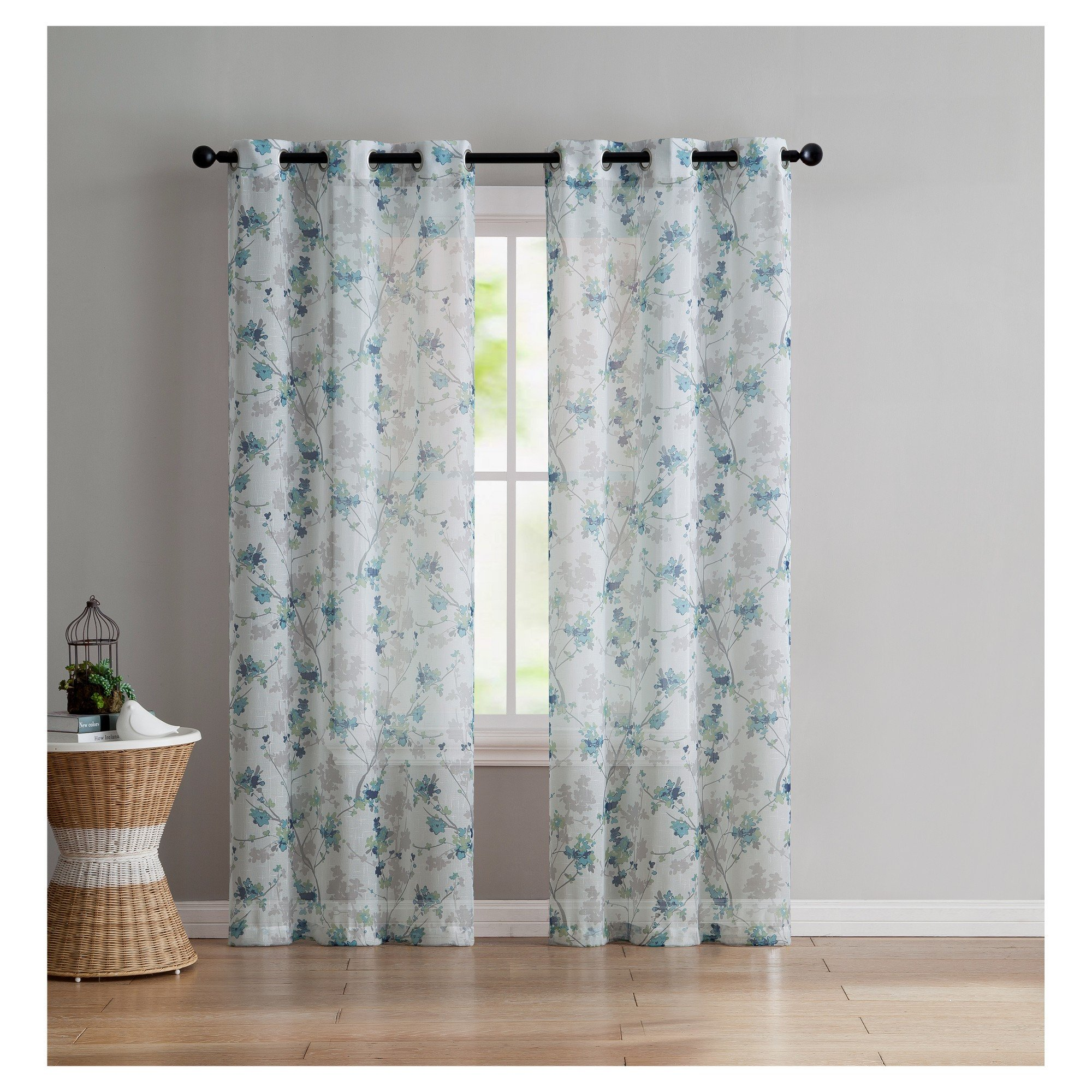 "Bedroom Curtains and Drapes Luxury Jasmine Semi Window Sheer Aqua 38""x96"" Vcny Home Blue"