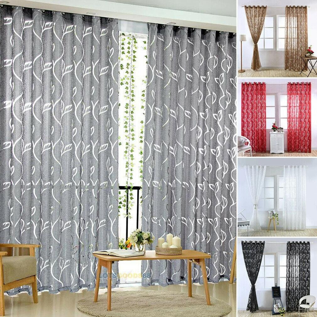 Bedroom Curtains and Drapes New 1pc Vines Leaves Modern Window Sheer Curtain Panels for Living Room the Bedroom Blinds Window Treatments Draperies 100x200cm