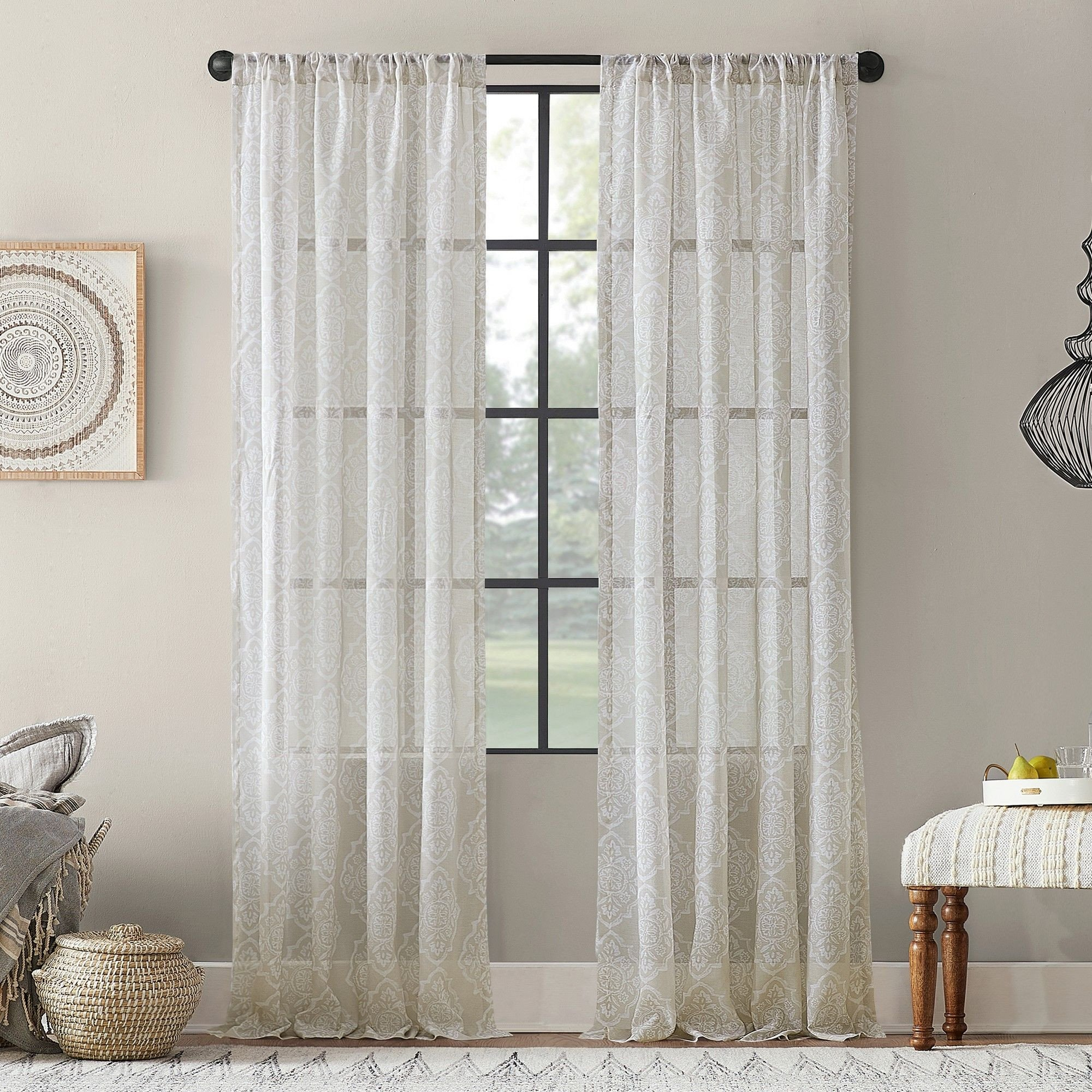 "Bedroom Curtains at Walmart Lovely 54""x63"" Global Block Textured Cotton Blend Sheer Curtain"