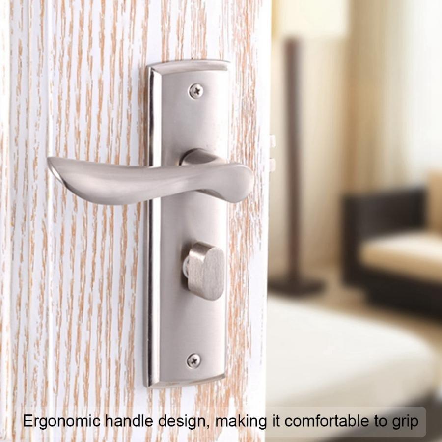 Bedroom Door Handle with Lock Fresh Aluminium Alloy Interior Security Door Lock Low Noise Durable Adjustable Single Bolt Bedroom Living Room toilet Wooden Door Lock