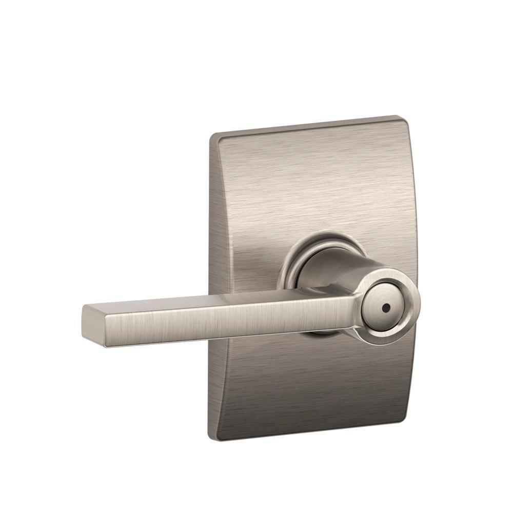 Bedroom Door Handle with Lock New Schlage Latitude Satin Nickel Privacy Bed Bath Door Lever with Century Trim