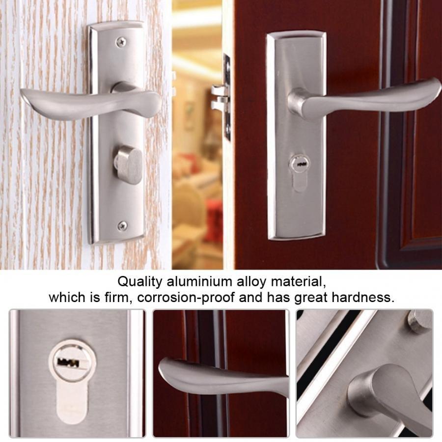 Bedroom Door Handle with Lock Unique Aluminium Alloy Interior Security Door Lock Low Noise Durable Adjustable Single Bolt Bedroom Living Room toilet Wooden Door Lock