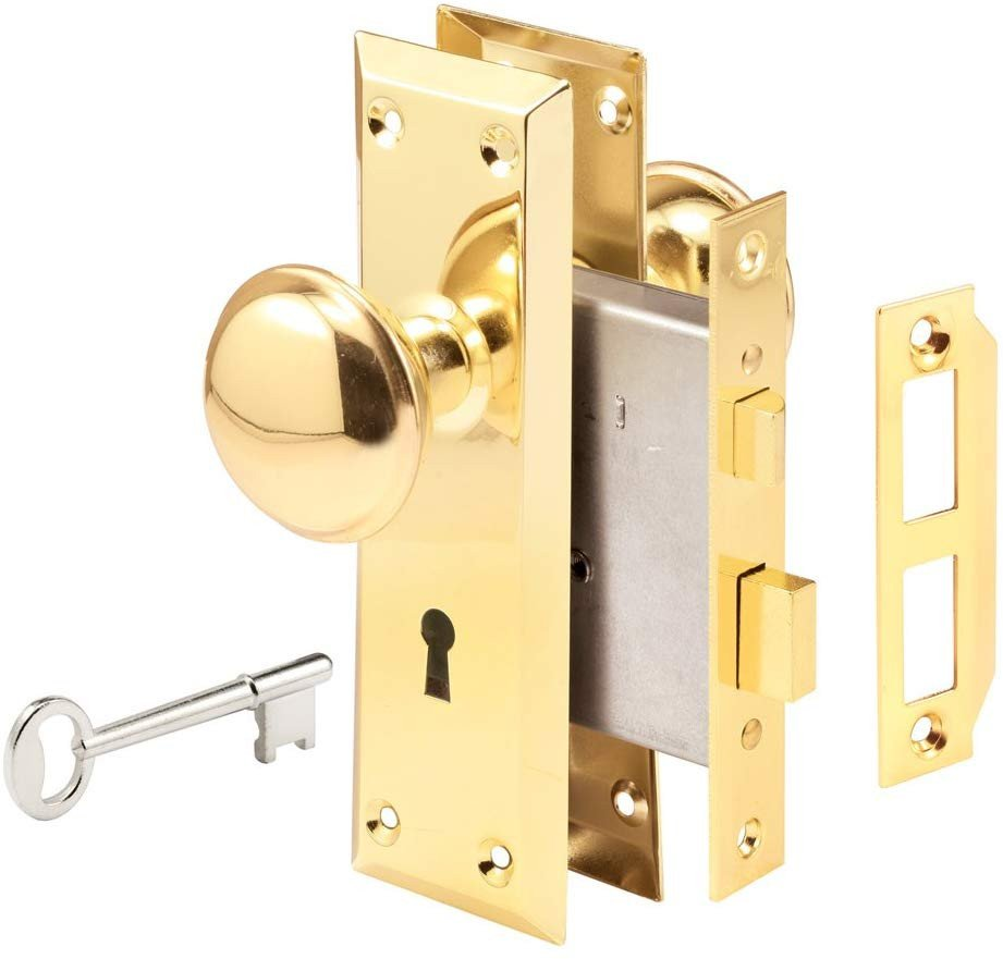 "Bedroom Door Handle with Lock Unique Prime Line Products E 2293 Mortise Lock Set 1 3 8"" X 1 3 4"" Brass"