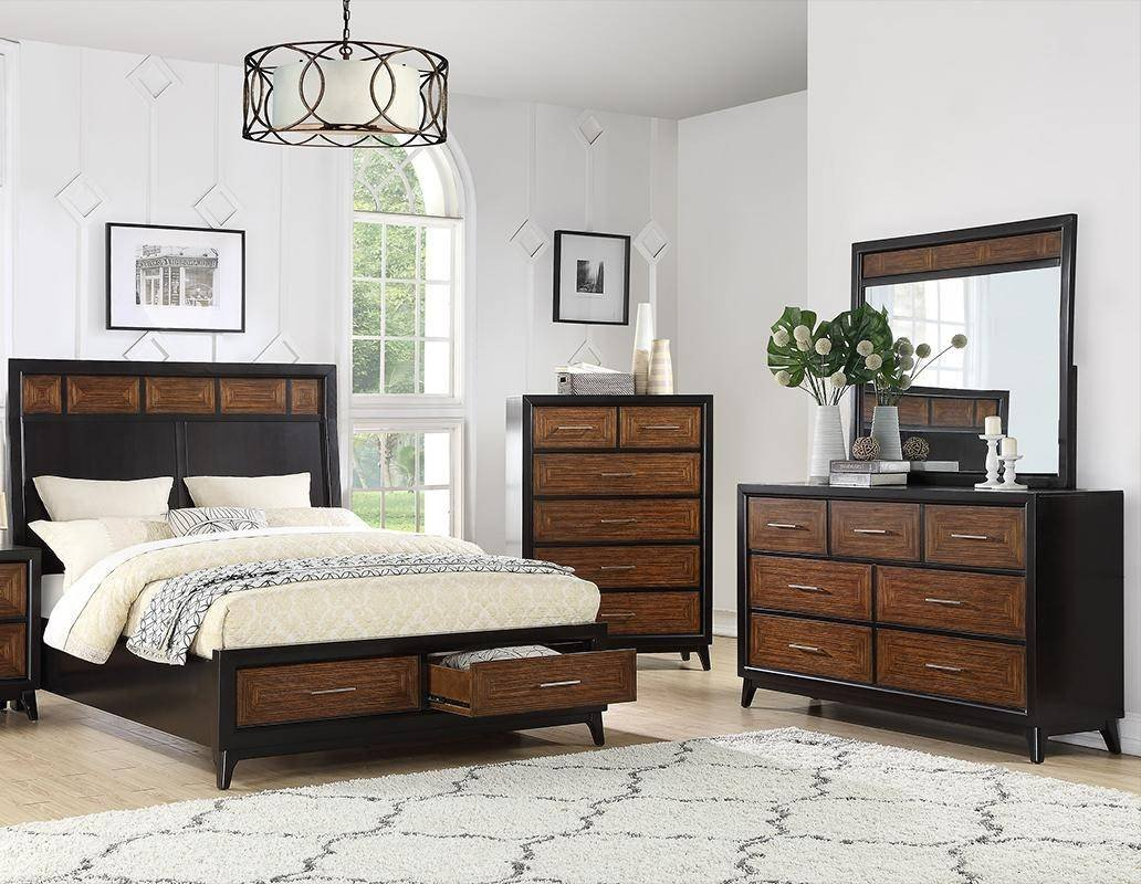 Bedroom Dressers and Chests Awesome 4 Drawers Dresser F4898 Brown Black Wood Poundex Contemporary