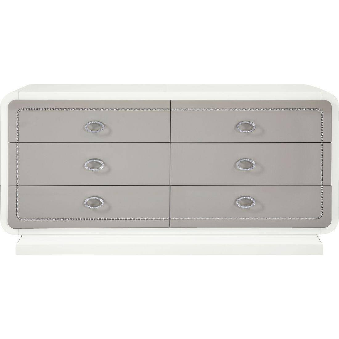 Bedroom Dressers for Sale Elegant Glam Ivory & Latte High Gloss Queen Bedroom Set 5pcs