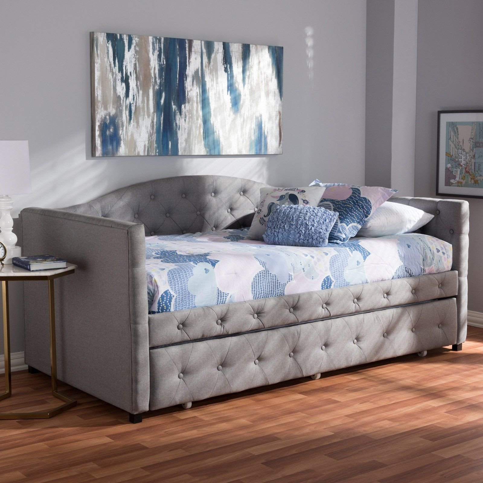 Bedroom Furniture Sale Clearance Inspirational Baxton Studio Gwendolyn Upholstered Daybed with Trundle In
