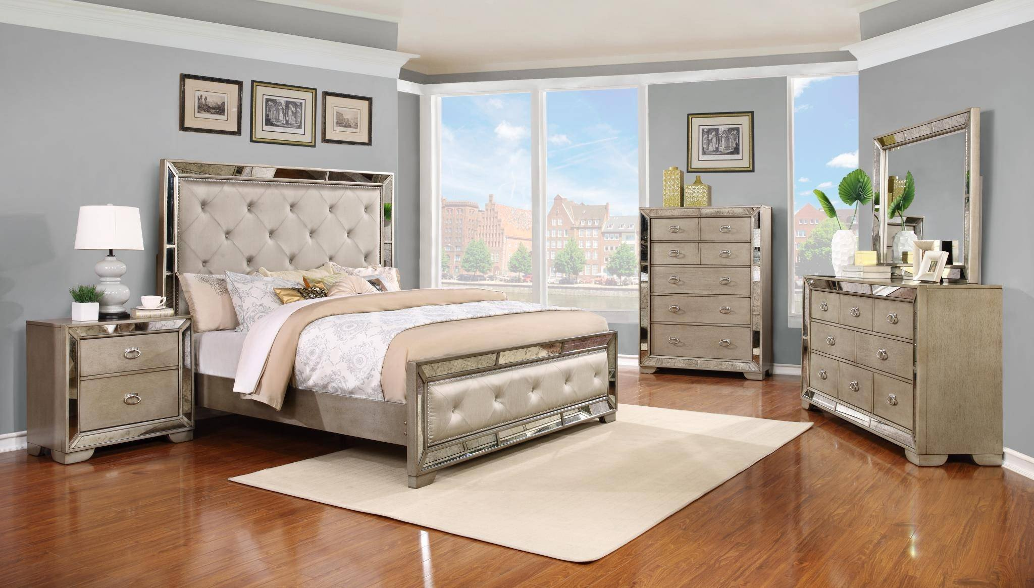 Bedroom Furniture Set Cheap Luxury soflex Lilyanna Diamond Tufted Headboard Queen Bedroom Set