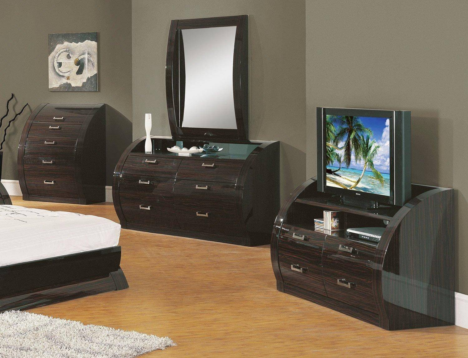 Bedroom Furniture Set Cheap New Contemporary Wenge Zebrano Lacquer Queen Bedroom Set 5pcs