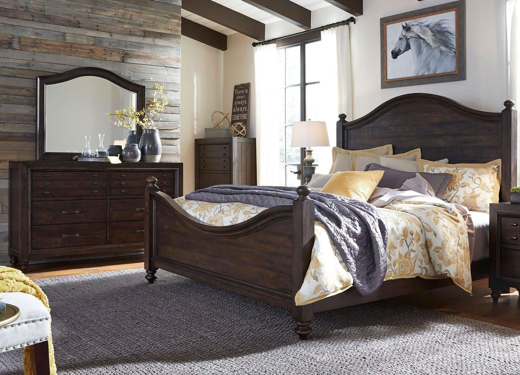 Bedroom Furniture Set King Elegant Traditional Dark Brown 3 Piece King Bedroom Set Catawba
