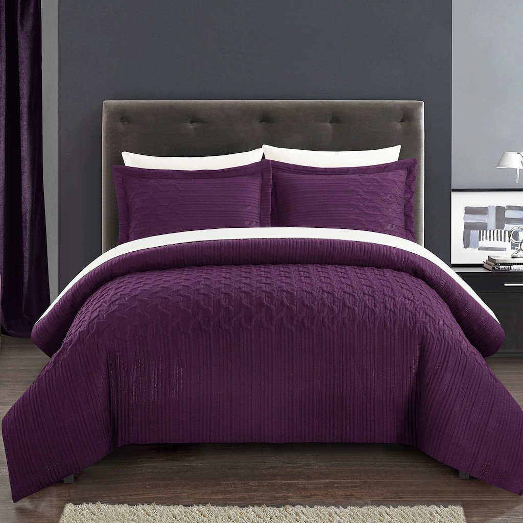 Bedroom In A Bag with Curtains Elegant Chic Home Jazmine Bedding Set Drk Purple Twin In 2019