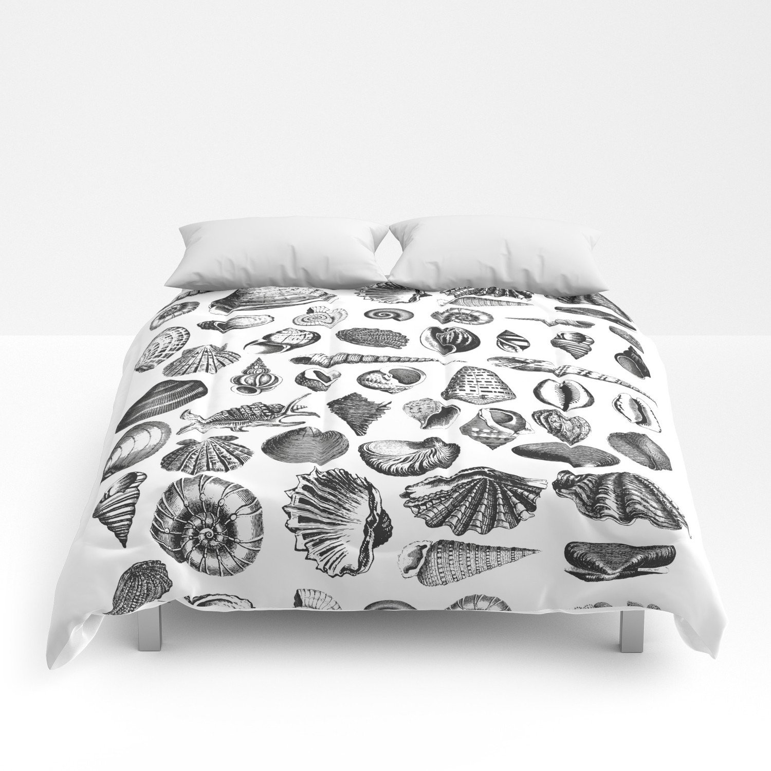 Bedroom In A Bag with Curtains Inspirational Vintage Sea Shell Drawing Black and White forters