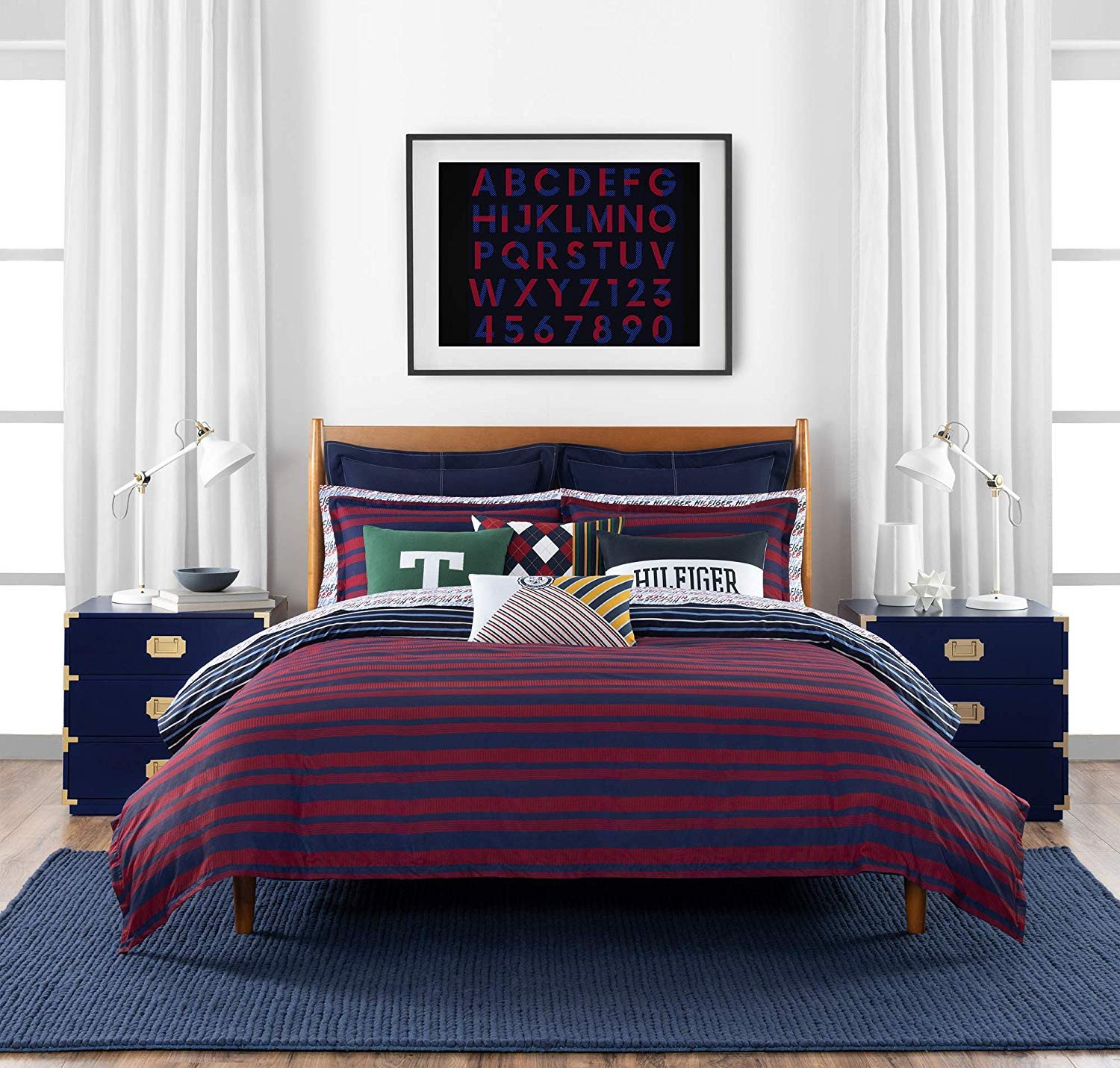 Bedroom In A Bag with Curtains Lovely tommy Hilfiger Heritage Stripe Bedding Collection forter Set Full Queen Navy Red