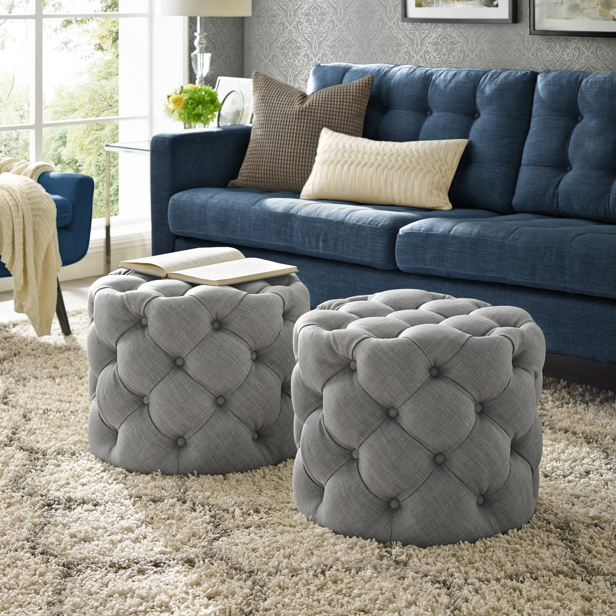 Bedroom Ottoman Storage Bench New Details About Velvet or Linen Tufted Ottoman Bench Foot Stool Fabric Bedroom Round 1 Pc