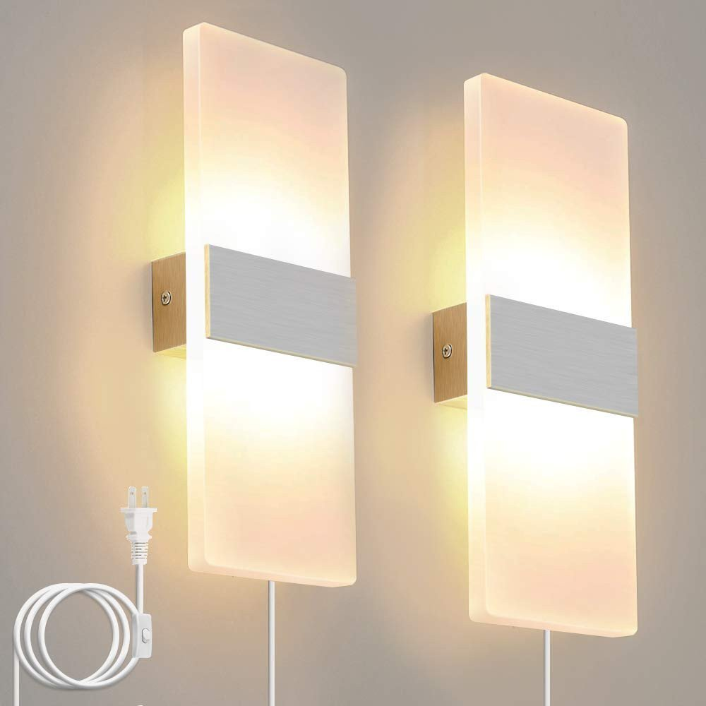 Bedroom Reading Light Wall Mounted Luxury Bjour Modern Wall Sconce Plug In Wall Lights Led Acrylic Wall Mounted Lamp 12w Warm White for Bedroom Living Room 2 Packs